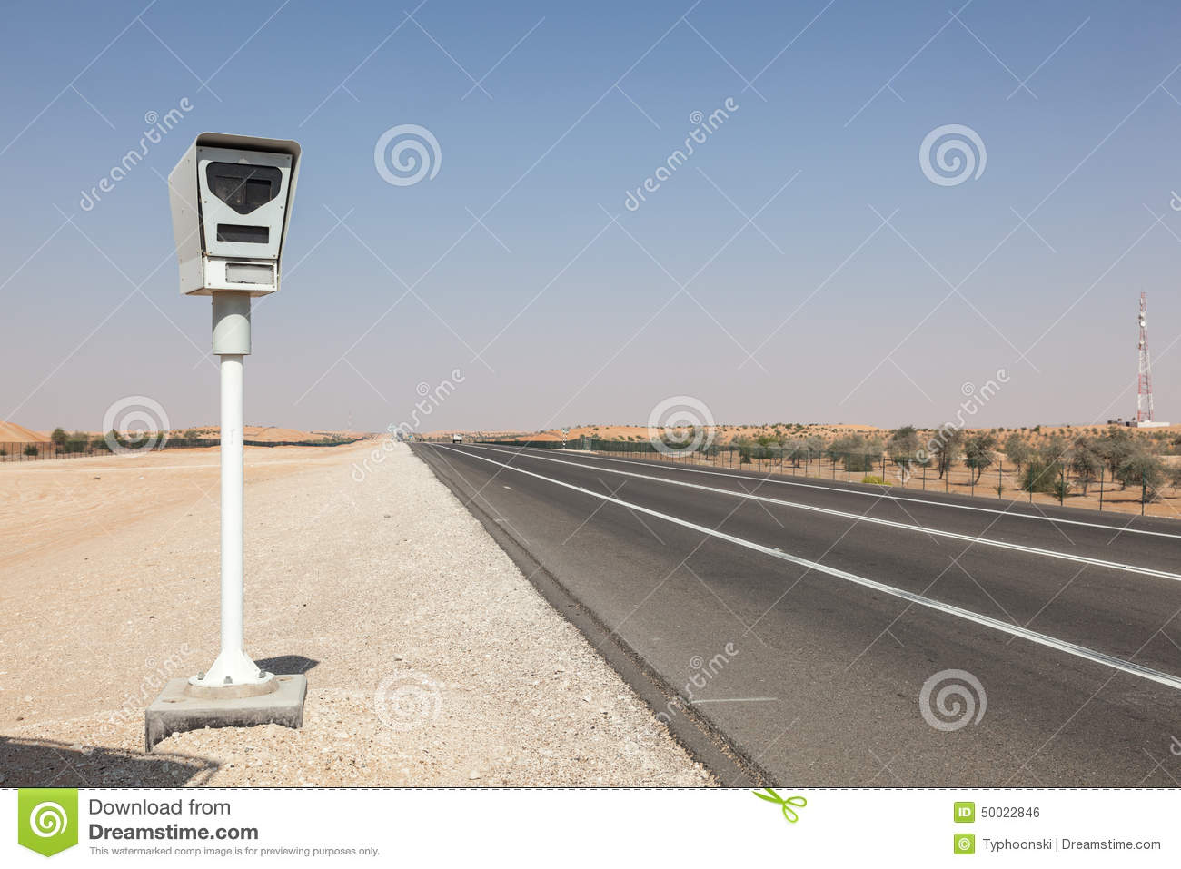 Radar speed control camera on the highway stock photo - Emirates camera ...