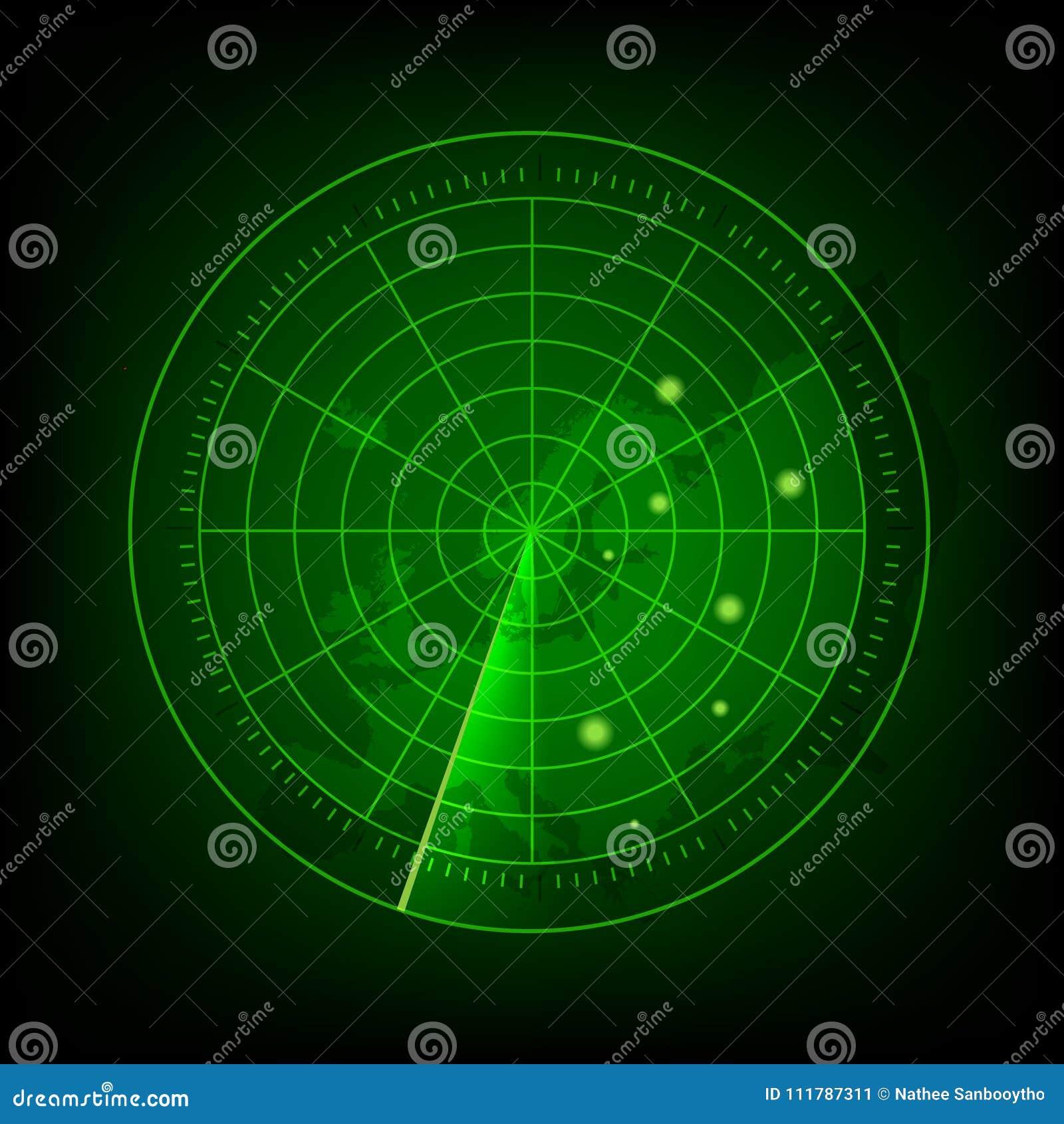 Radar vert abstrait avec des cibles dans l action Système de recherche militaire