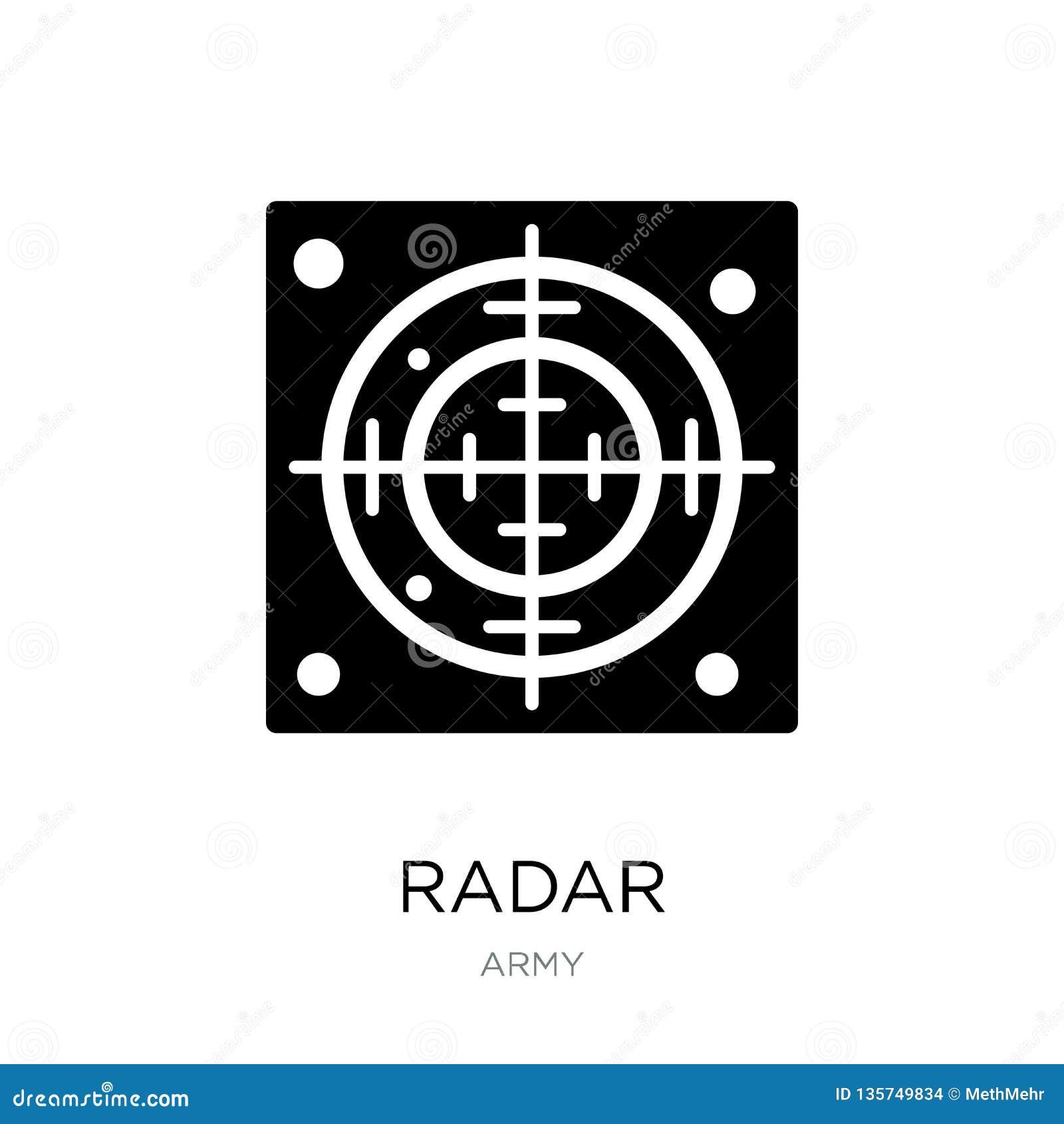 Radarsymbol i moderiktig designstil Radarsymbol som isoleras på vit bakgrund enkelt och modernt plant symbol för radarvektorsymbo