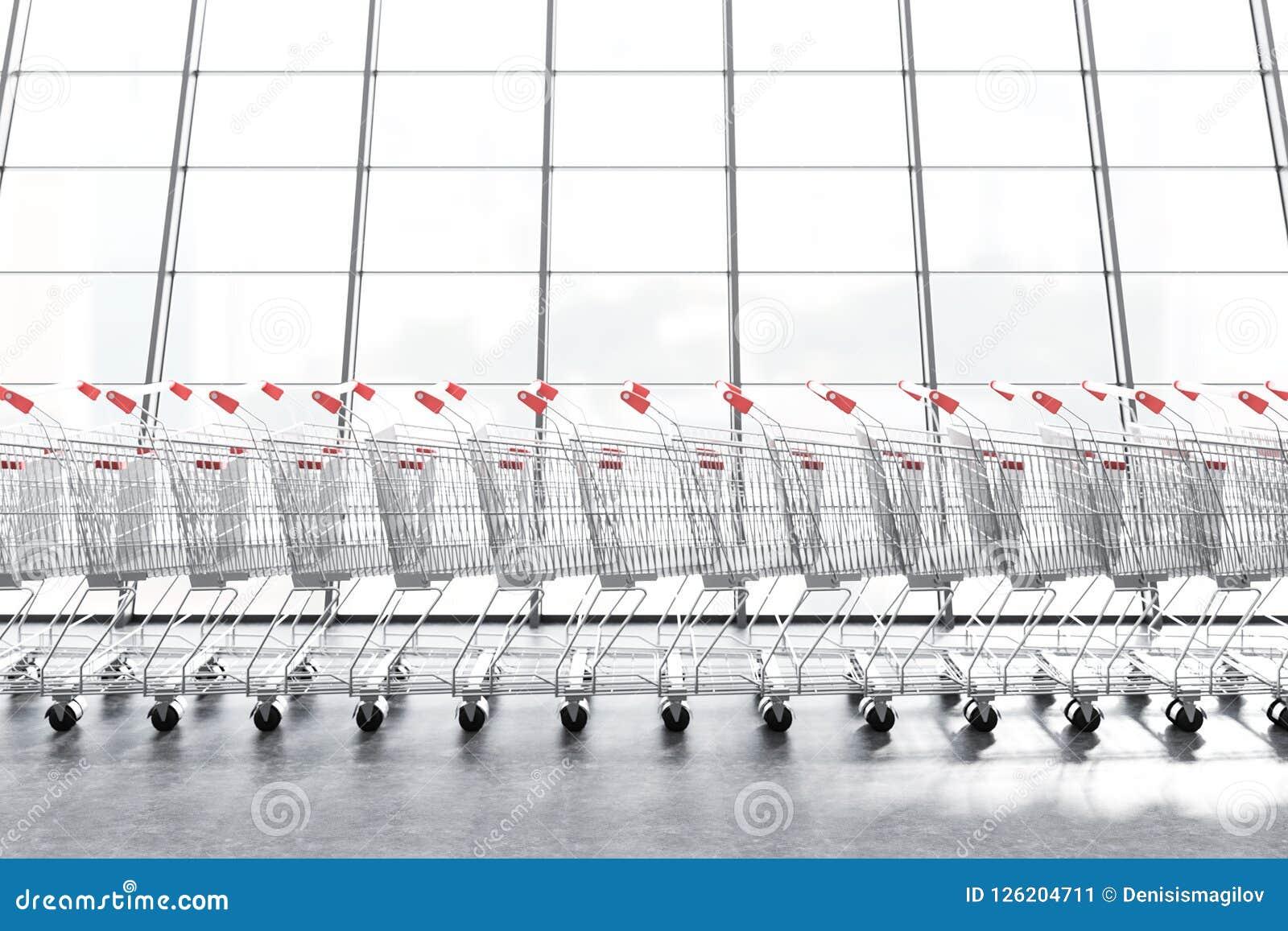 Raden av supermarketspårvagnar near fönstret