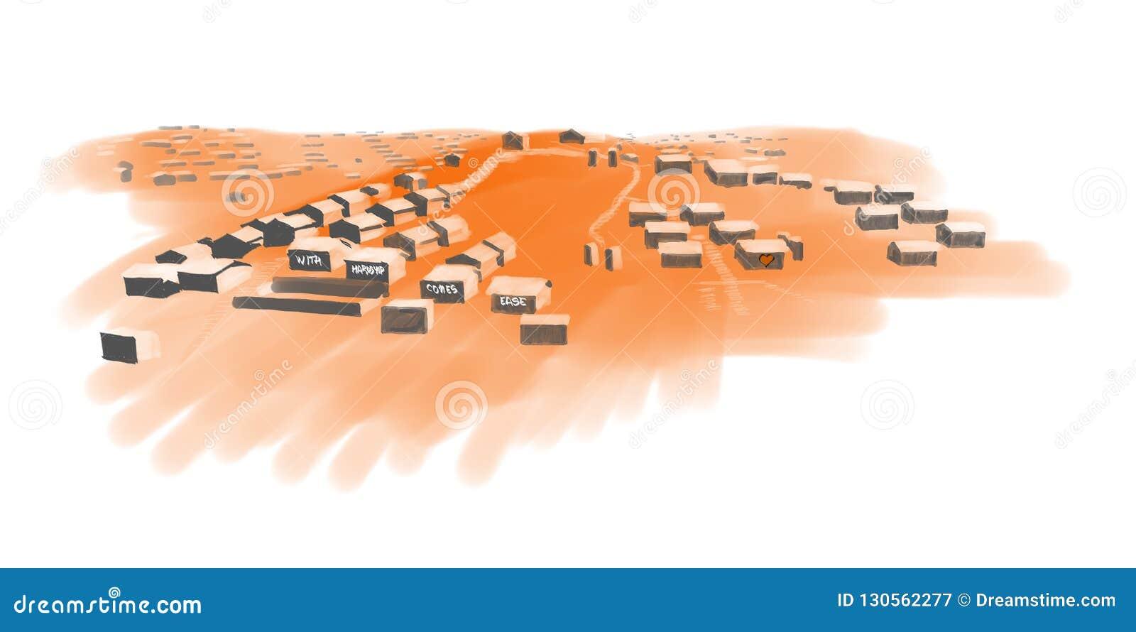 Rader av tältbegreppet i ett flyktingläger