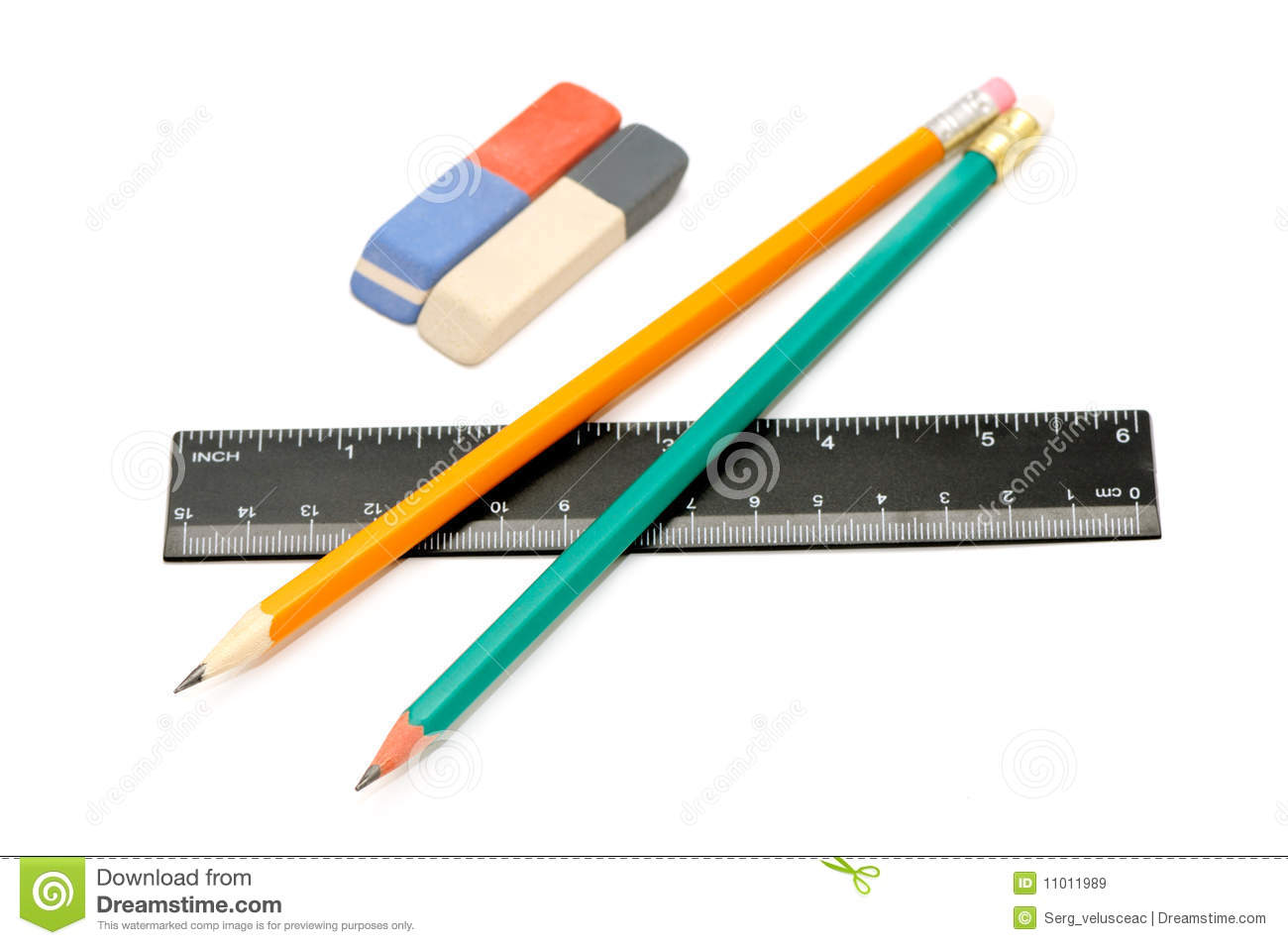 Radergummit pencils linjalen