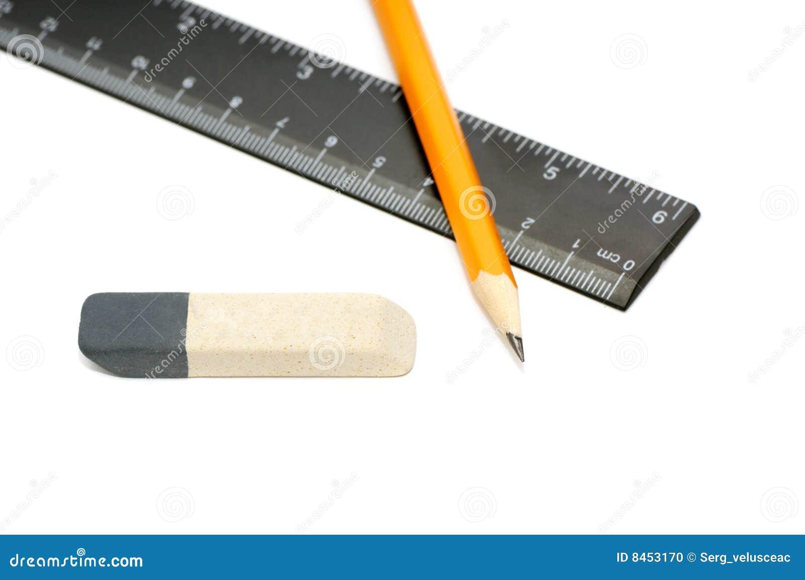 Radergummit pencils linjalen