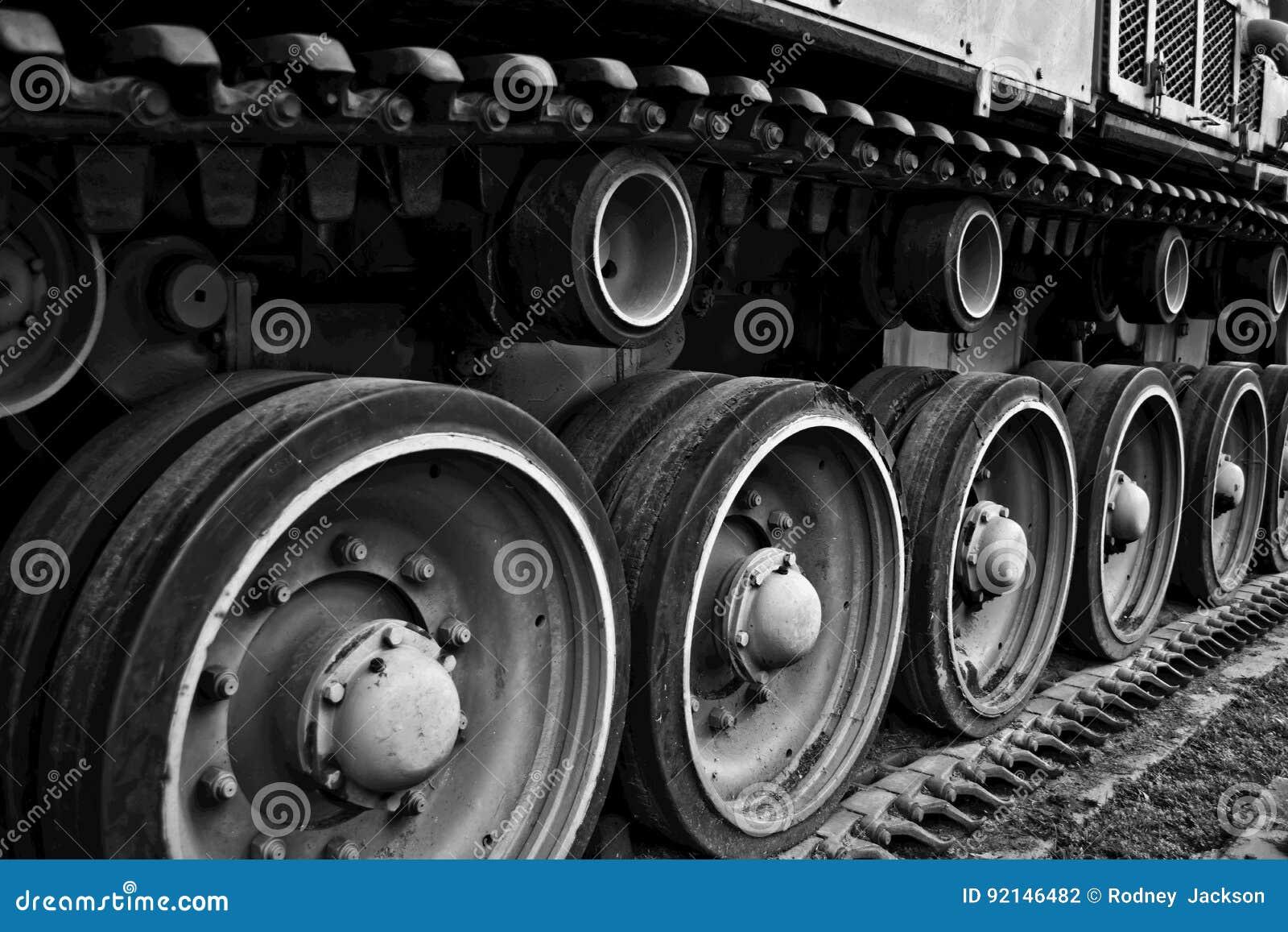 Radertjes in de spoorassemblage van een WW2 tank