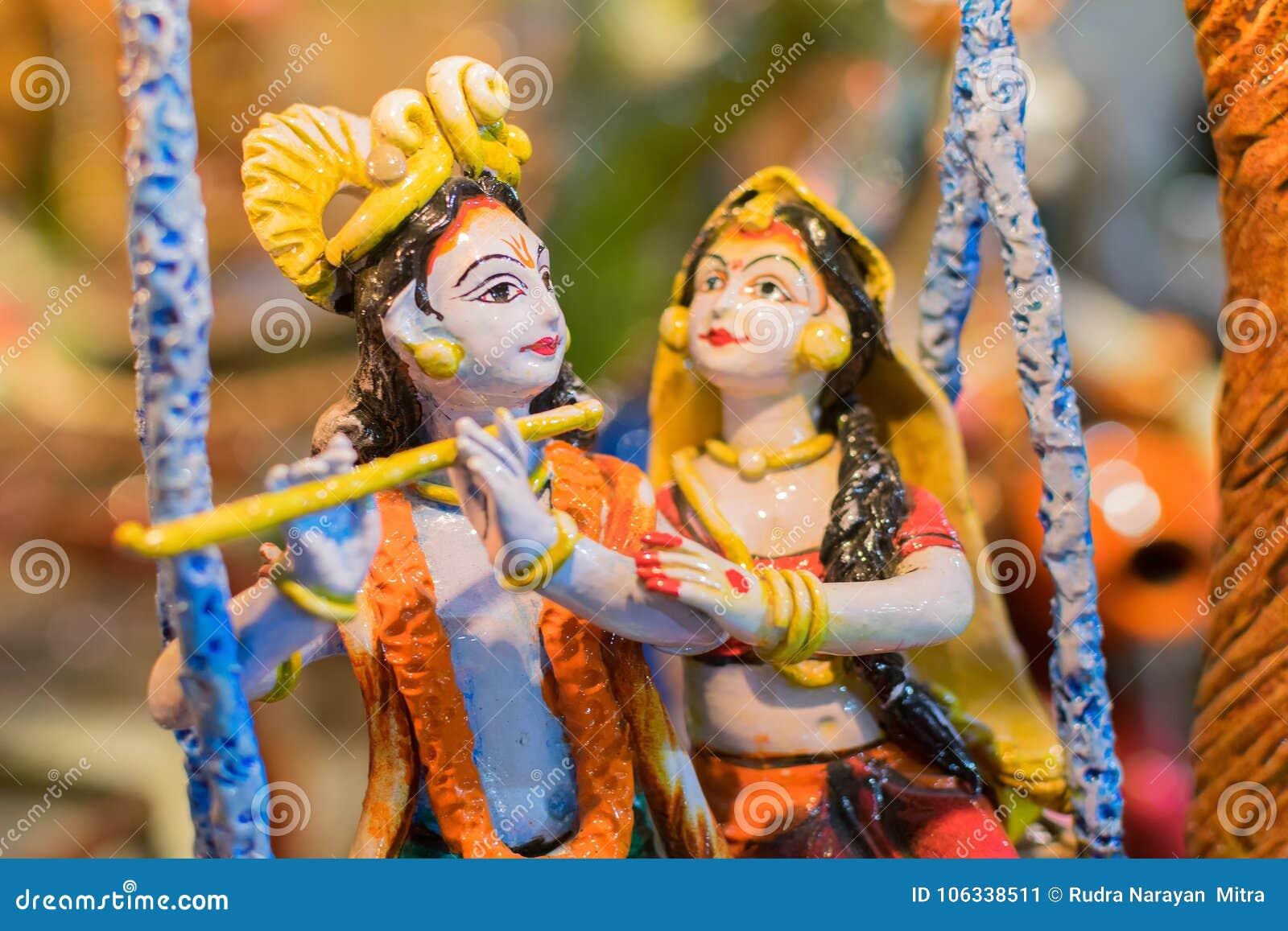 radha and krishna indian handicrafts fair at kolkata stock image