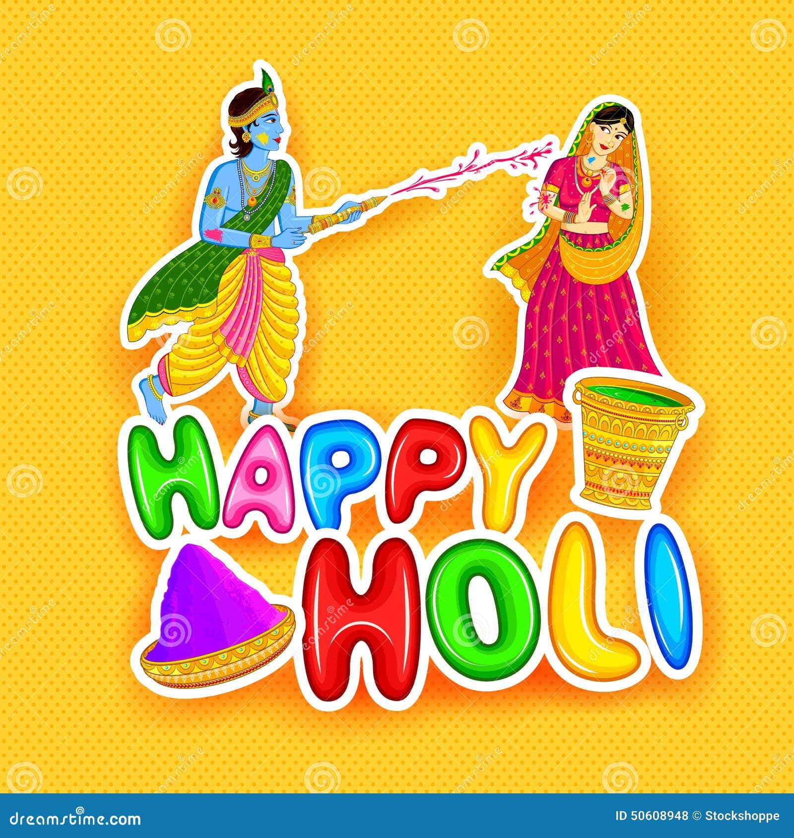 Happy holi radha krishna images - Radha Krishna Playing Holi