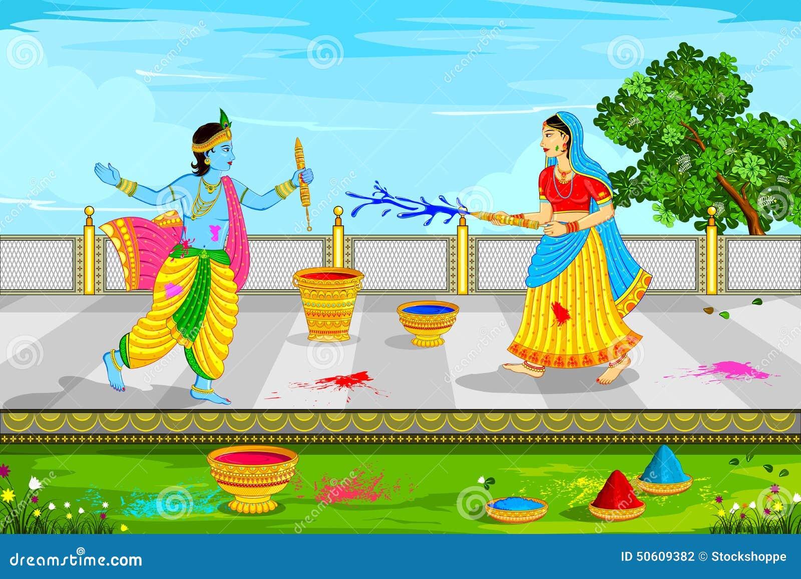 Happy holi radha krishna images - Radha Krishna Playing Holi Stock Photography