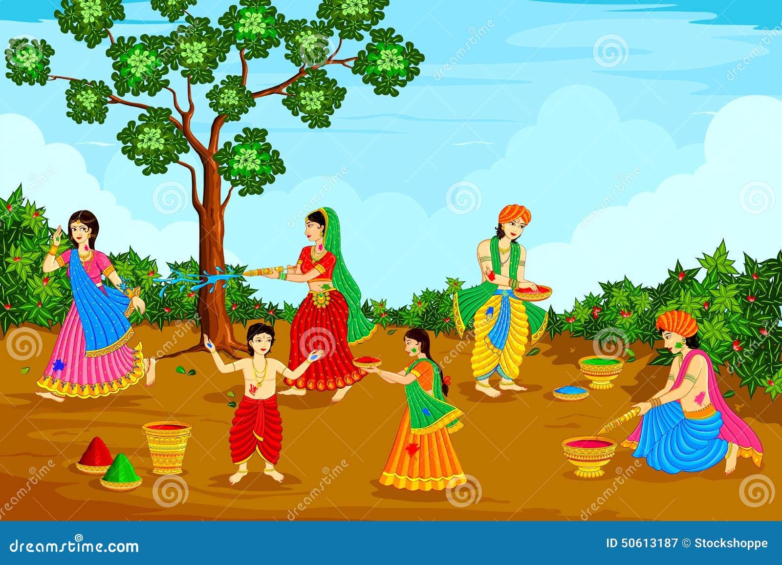 Happy holi radha krishna images - Radha Krishna Playing Holi Royalty Free Stock Photography