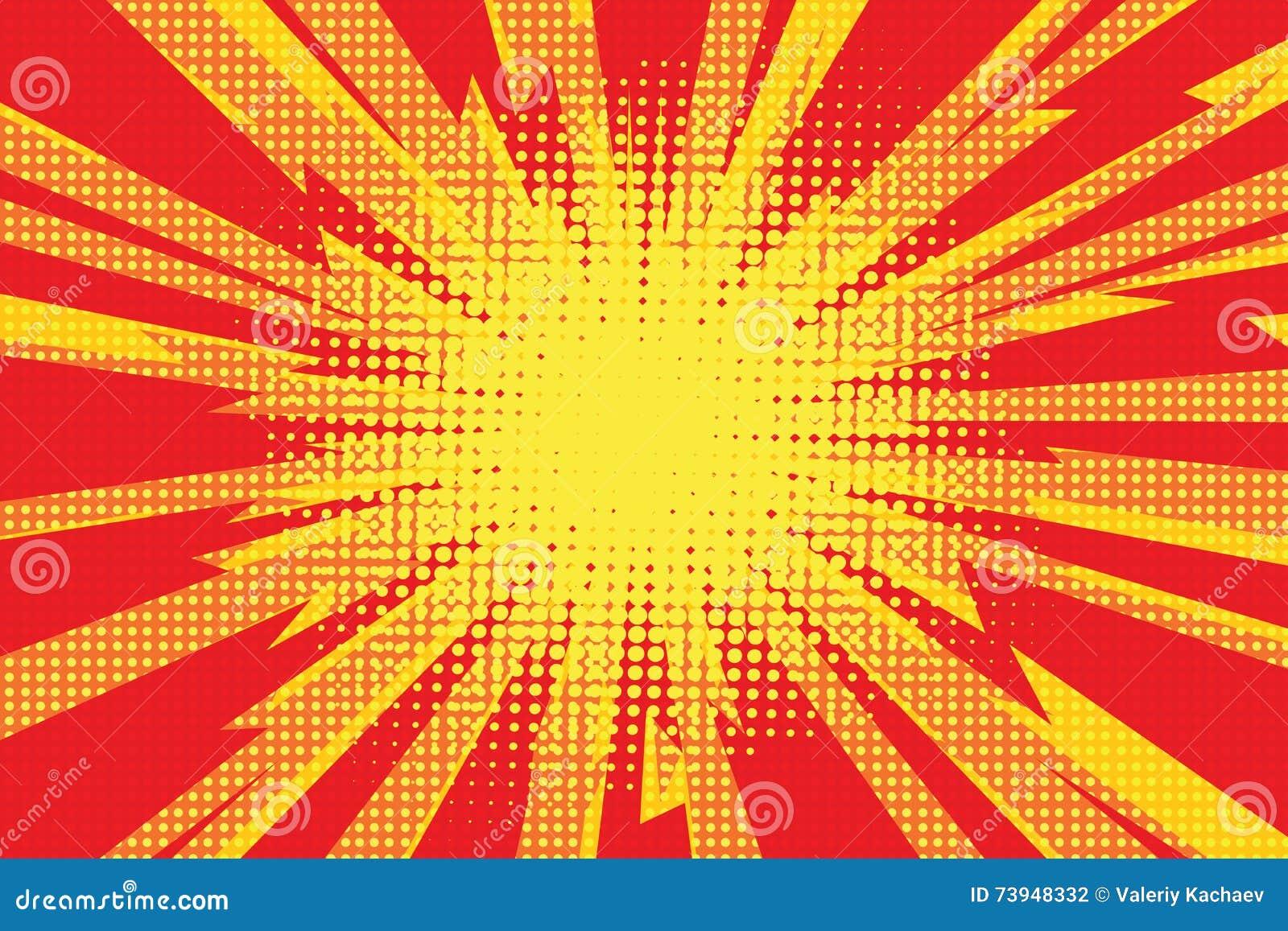 Radi retro amarillo rojo de la ráfaga del relámpago de la historieta del fondo del arte pop