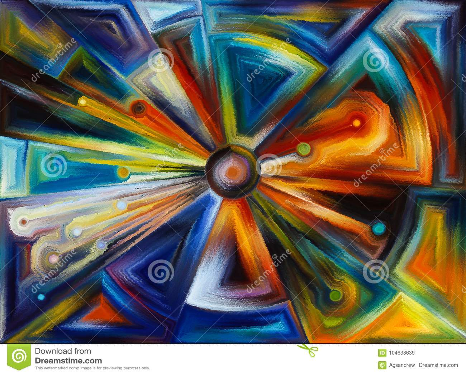 Radiaal gebrandschilderd glasontwerp