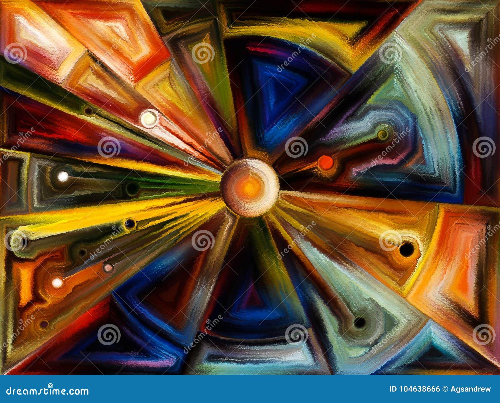 Download Radiaal Gebrandschilderd Glasontwerp Stock Illustratie - Illustratie bestaande uit art, kromme: 104638666