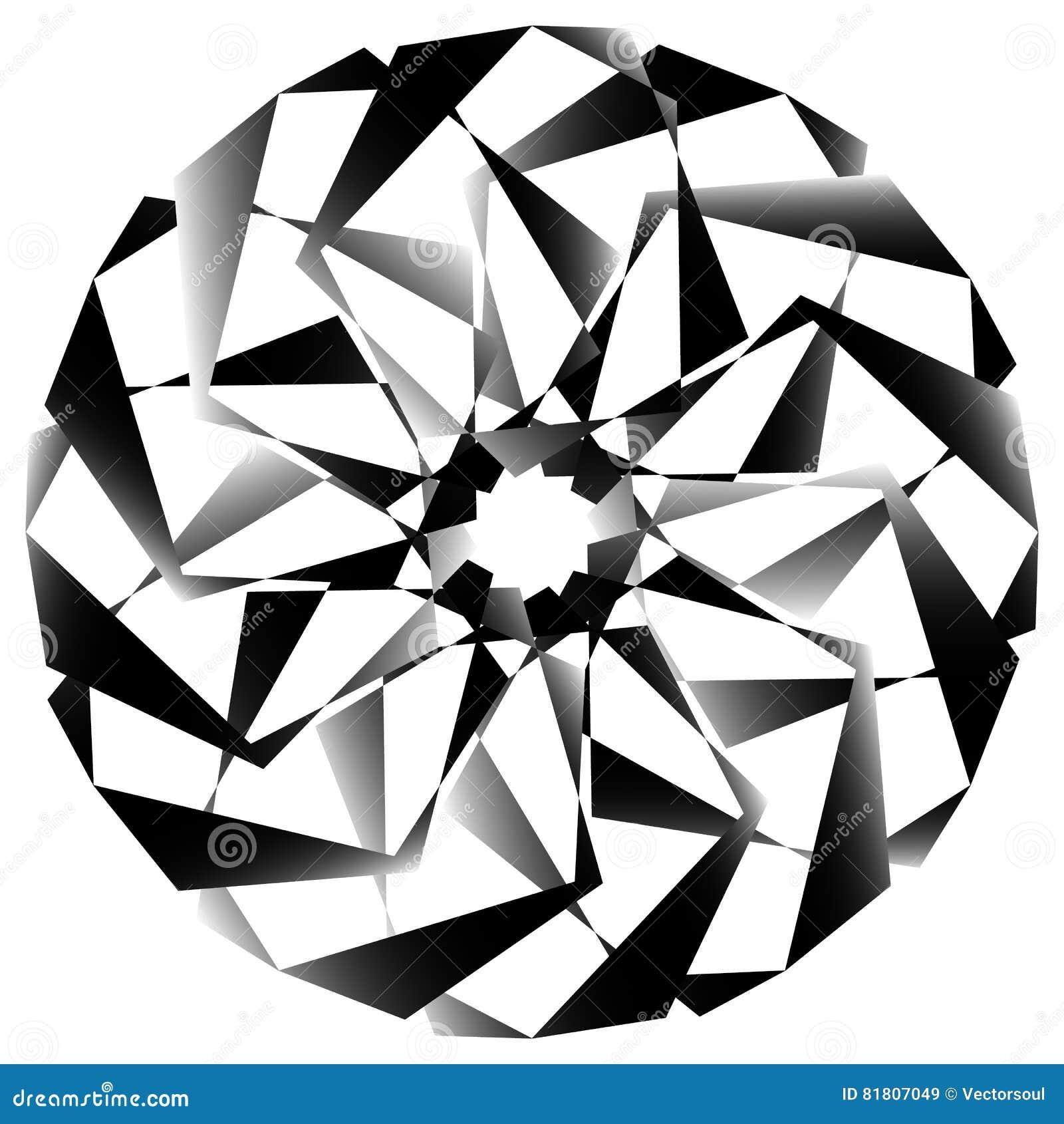 Radial, спирально геометрический декоративный элемент - абстрактное monochr