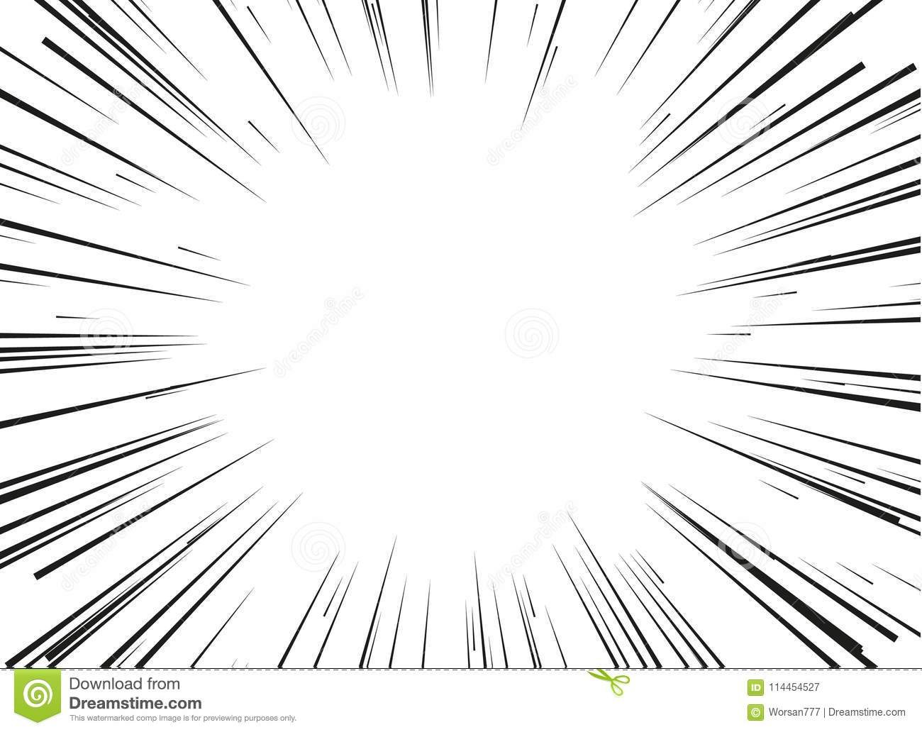 Radial Lines For Comic Books Isolated On White Background. Comic ...