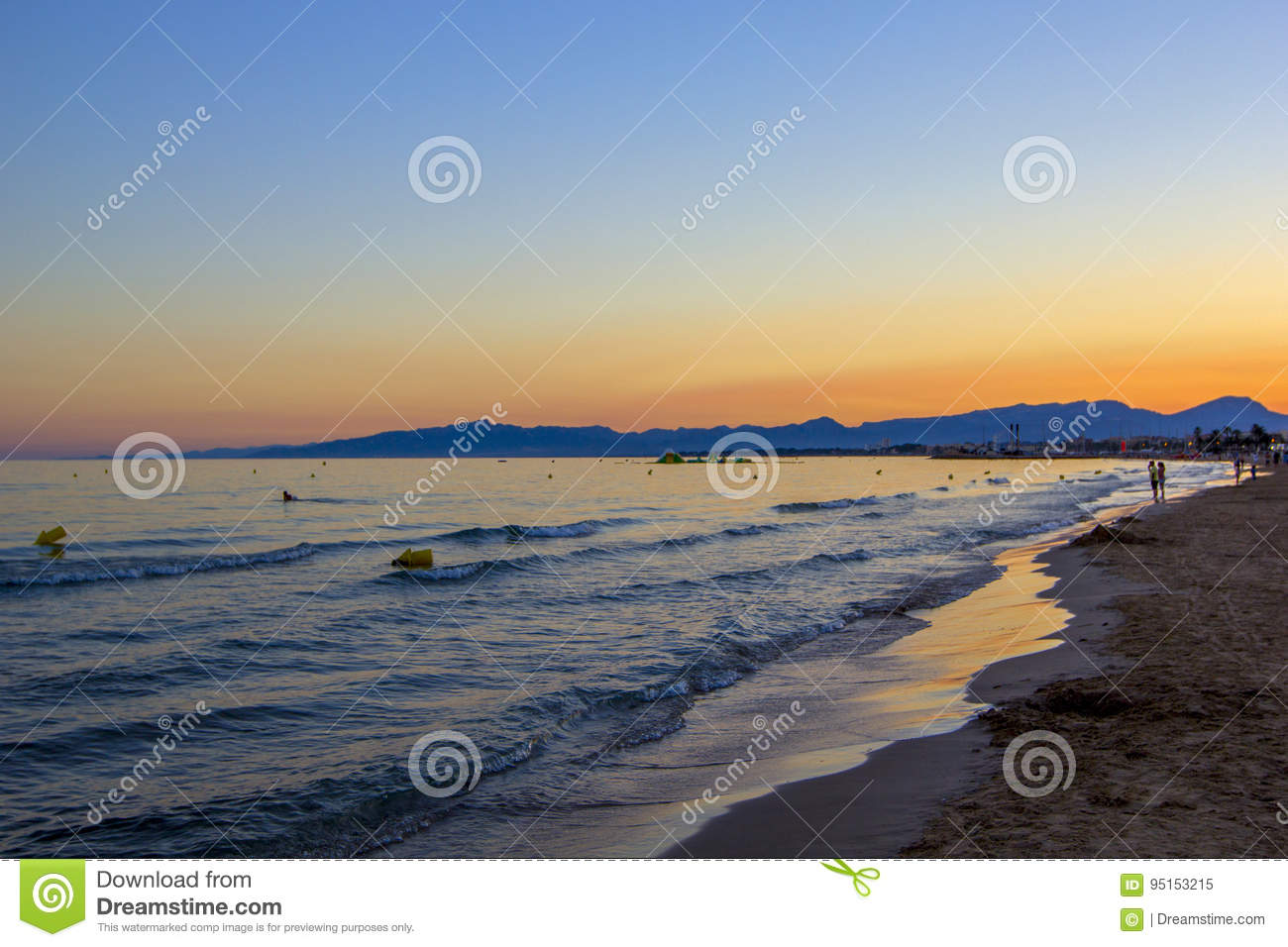 Scenic Colorful Sunset At The Sea Coast Good For Wallpaper Or Background Image Costa Darado Spain
