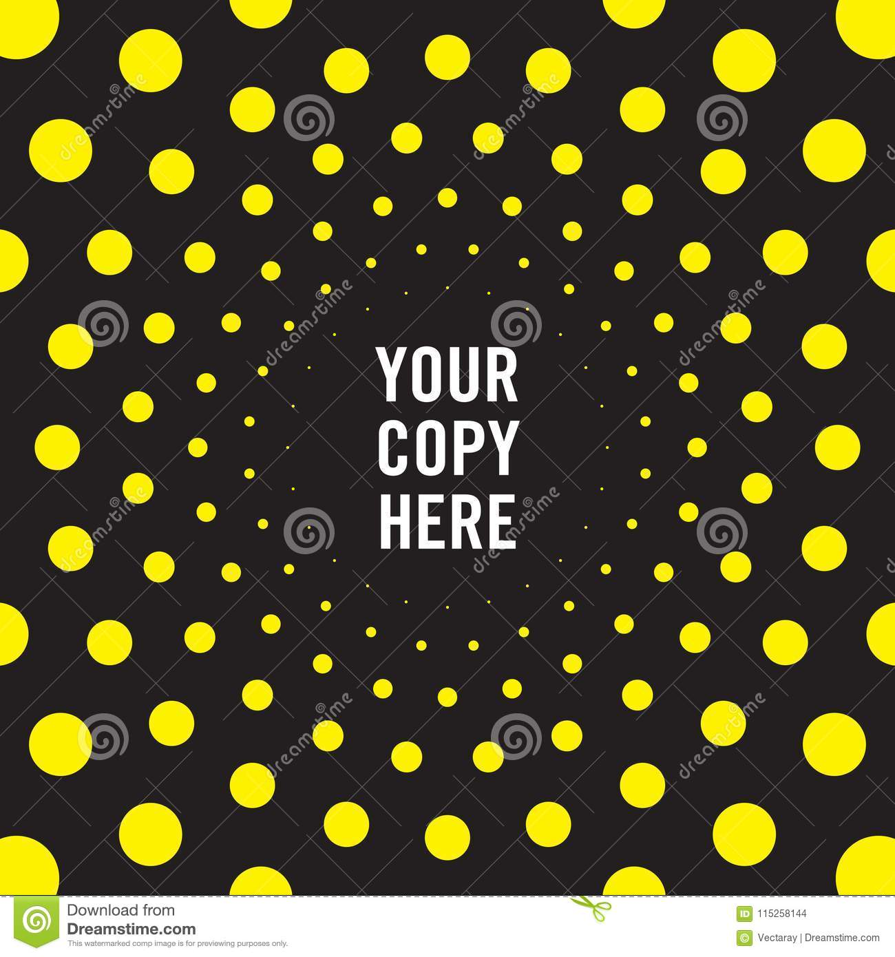 Radiating Dot Pattern Background In Black And Yellow Stock Vector