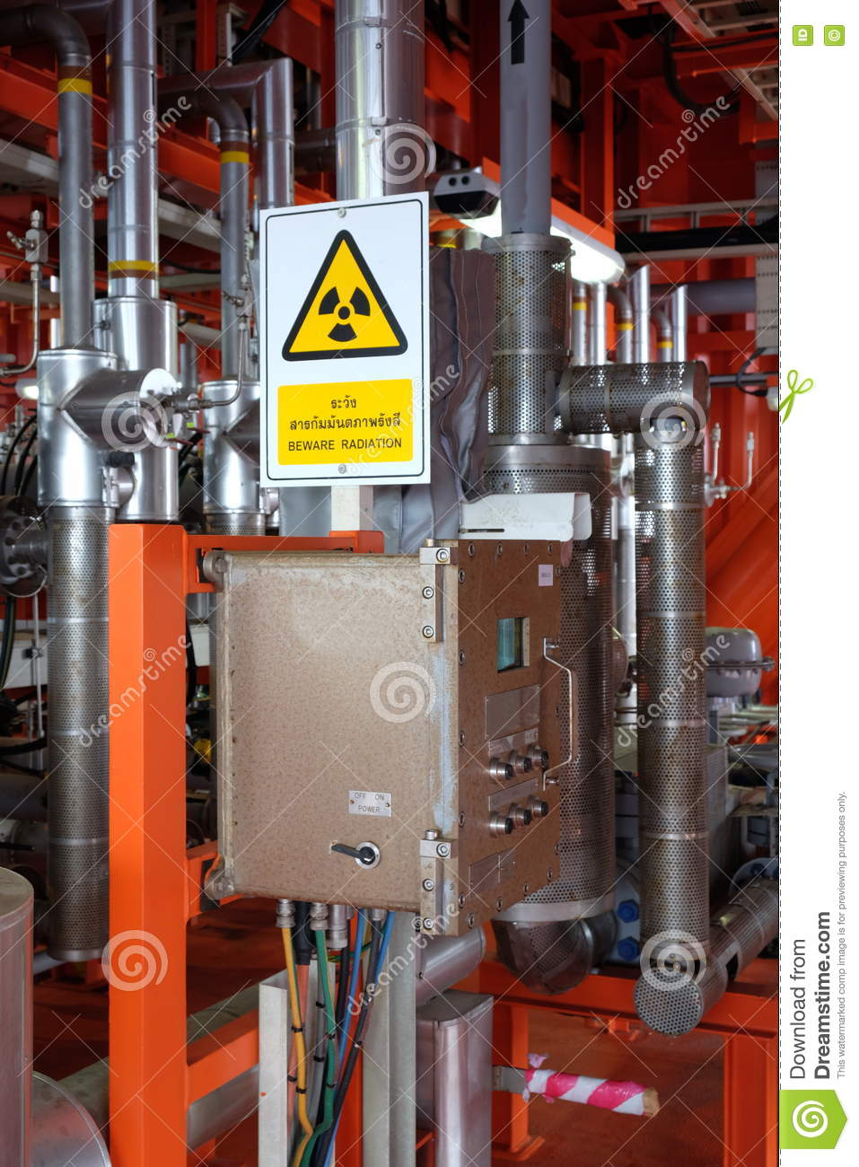 Radiation Caution On Multi Phase Flow Meter On Oil And Gas Platform