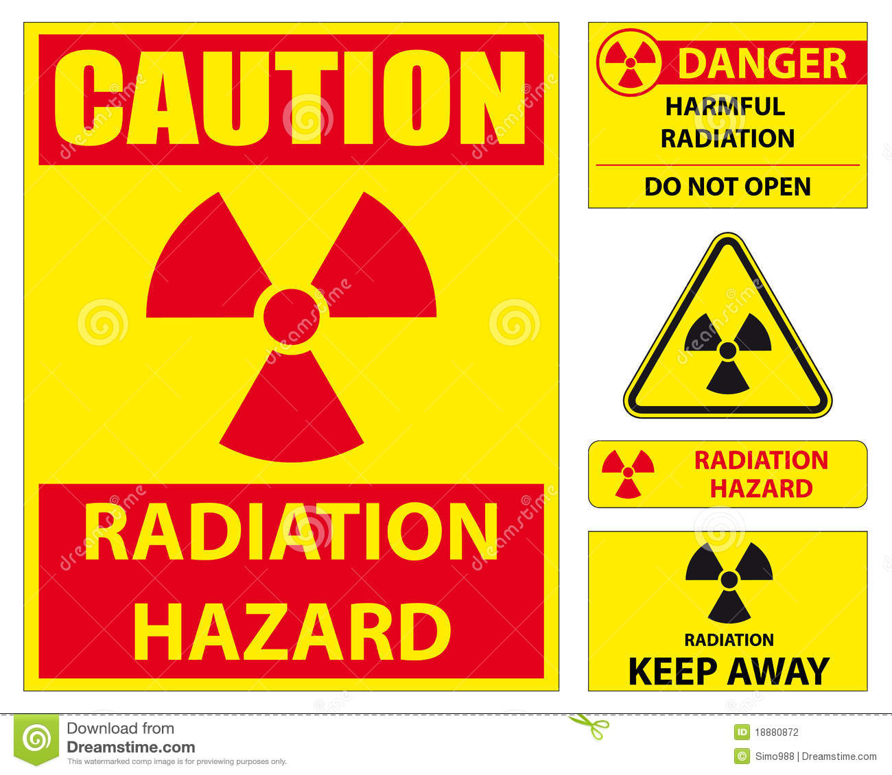 Radiation Hazard Sign Set Stock Photography - Image: 18880872