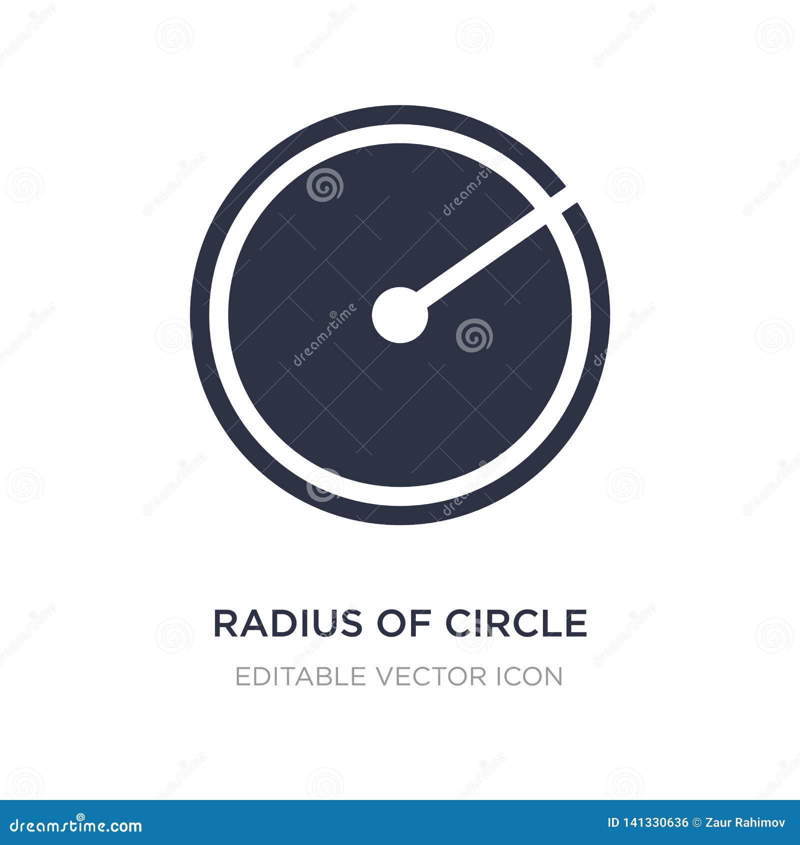 Radie av cirkelsymbolen på vit bakgrund Enkel beståndsdelillustration från formbegrepp