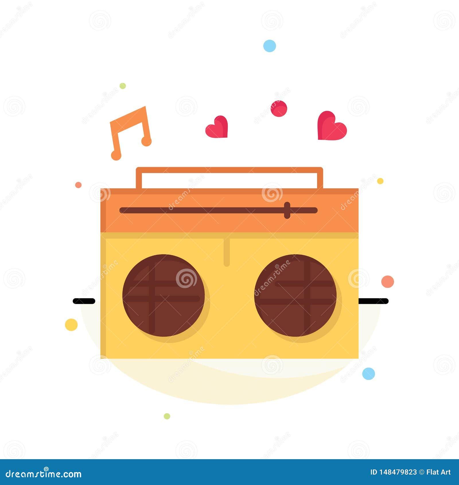 Radio, amour, coeur, calibre plat d icône de couleur d abrégé sur mariage