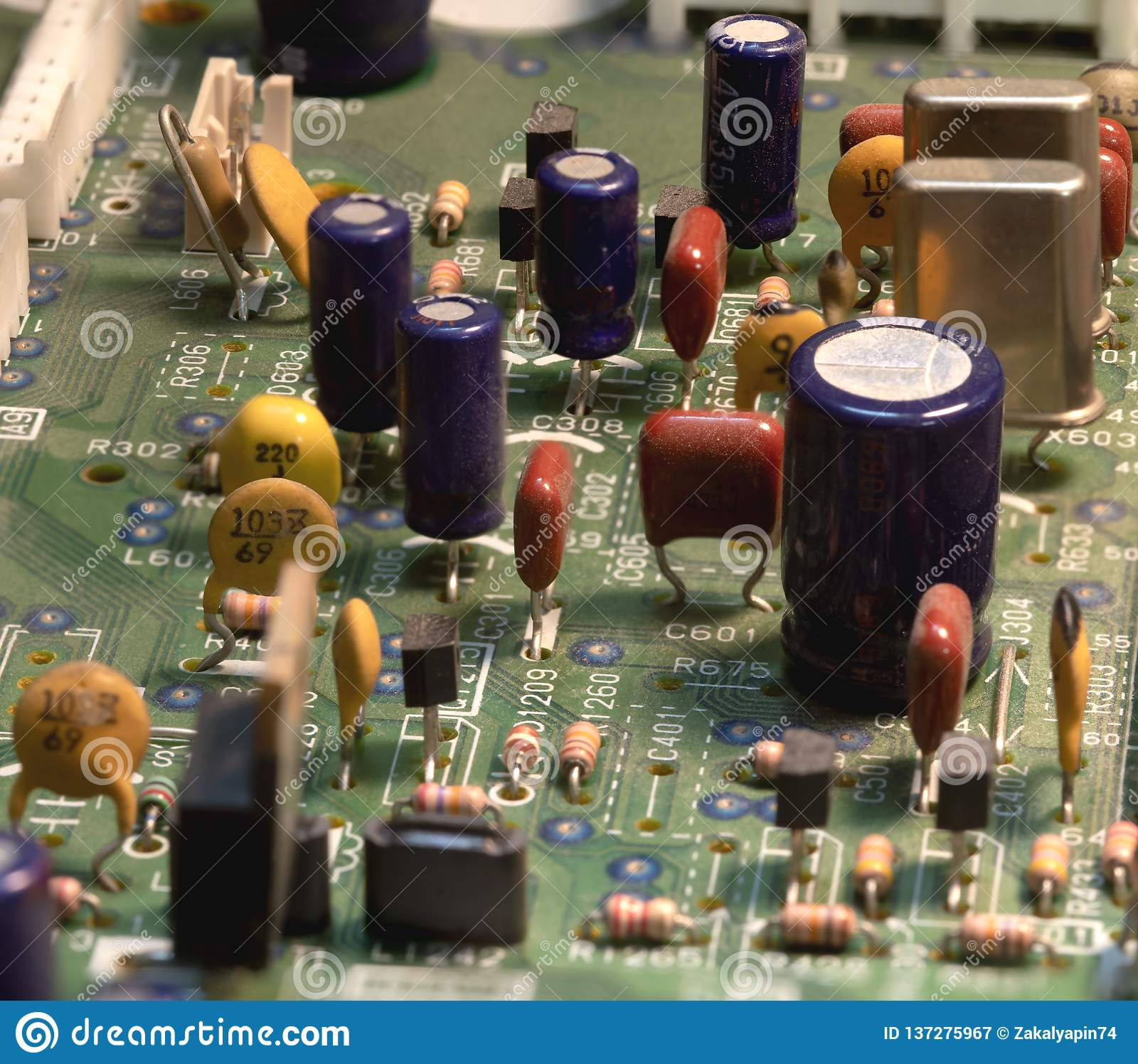 Radio components on a printed circuit board.