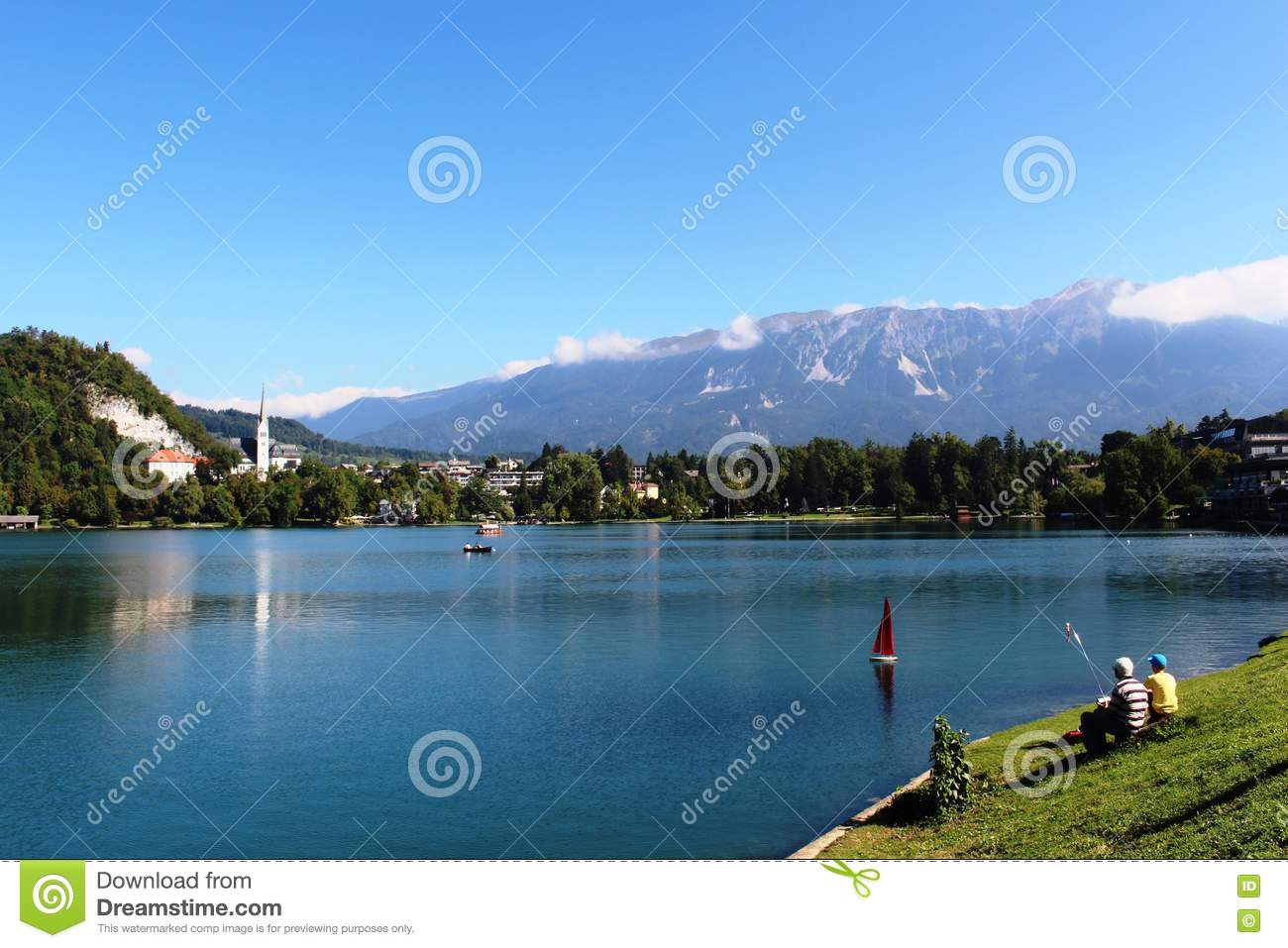 Radio Controlled Model Yacht, Lake Bled, Slovenia Editorial Stock