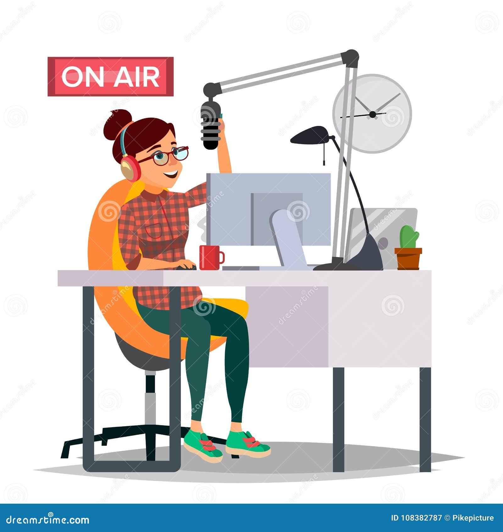 Radio de Vrouwenvector van DJ broadcasting Modern Radiostation Het wijfje spreekt in de Microfoon Op Lucht broadcasting