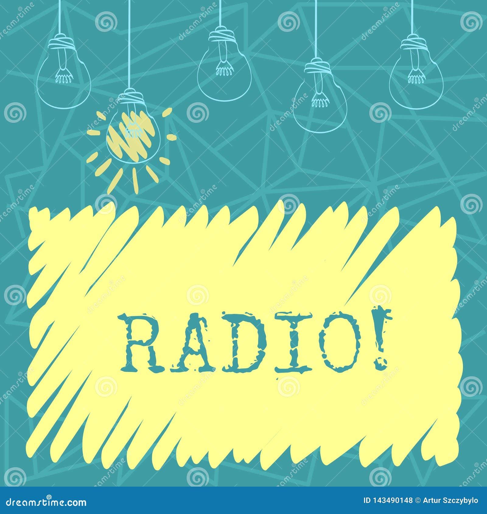 Radio del testo della scrittura L attrezzatura elettronica di significato di concetto utilizzata per ascoltare le manifestazioni