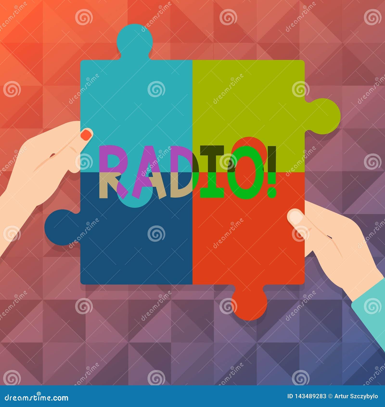 Radio del testo di scrittura di parola Concetto di affari per attrezzatura elettronica utilizzata per ascoltare le manifestazioni
