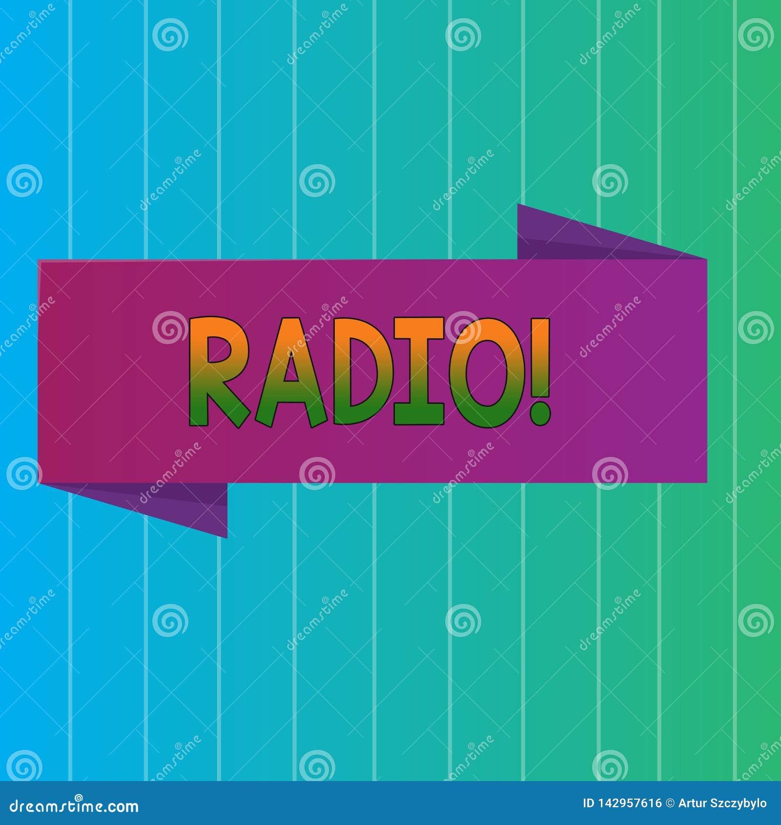 Radio del testo di scrittura di parola Il concetto di affari per attrezzatura elettronica utilizzata per ascoltare i programmi di