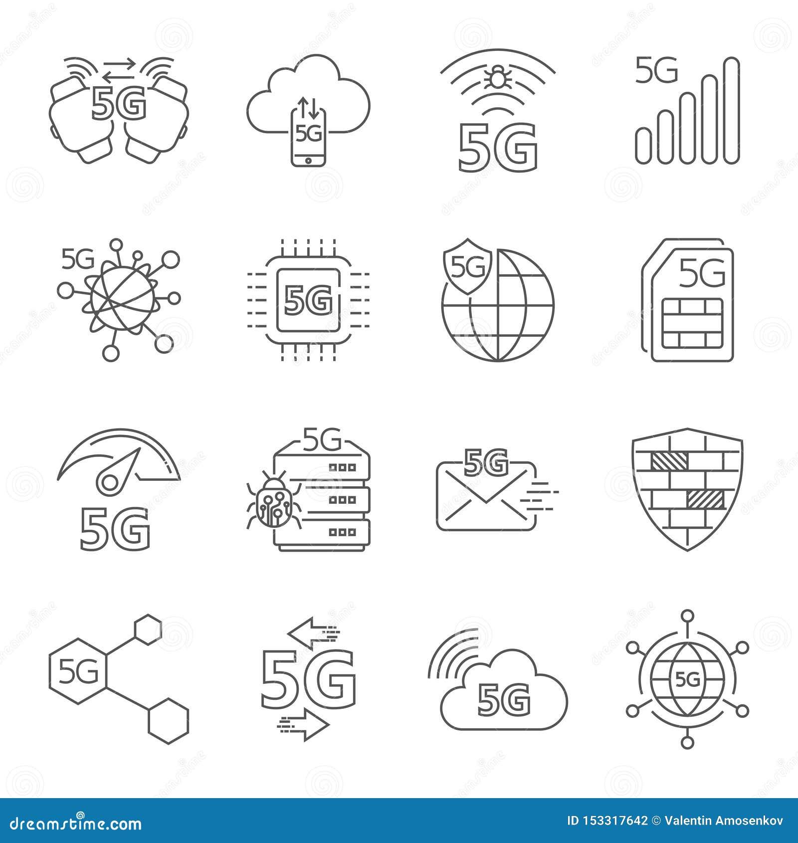 Radio för teknologi 5G, 5g nätverk, 5th utveckling för mobil kommunikation, mobil internet 5g Ställ in av linjära vektorsymboler