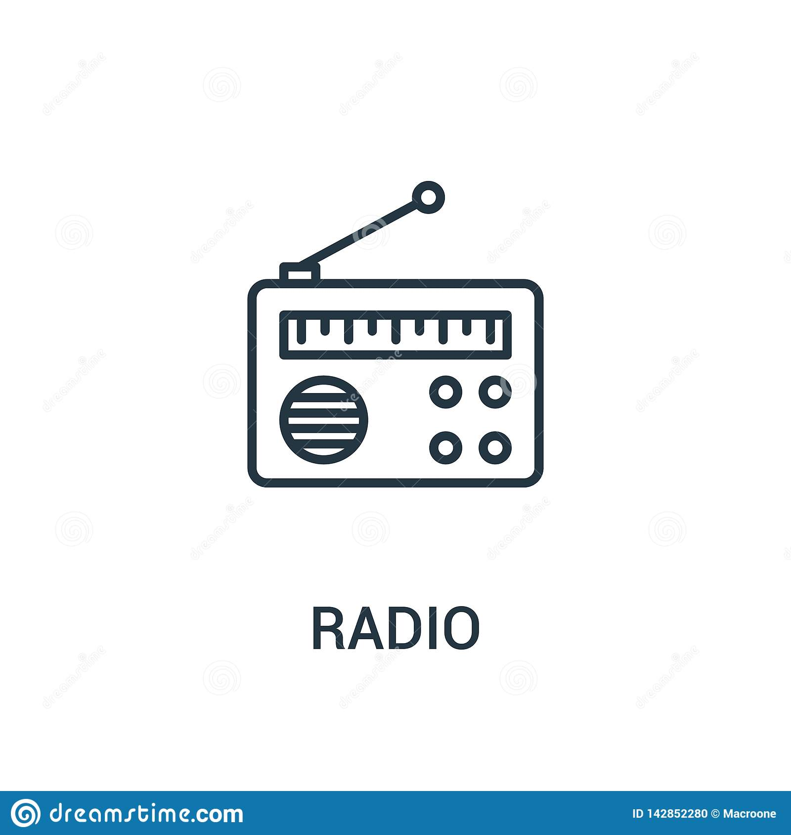radio icon vector from ads collection. Thin line radio outline icon vector illustration. Linear symbol for use on web and mobile