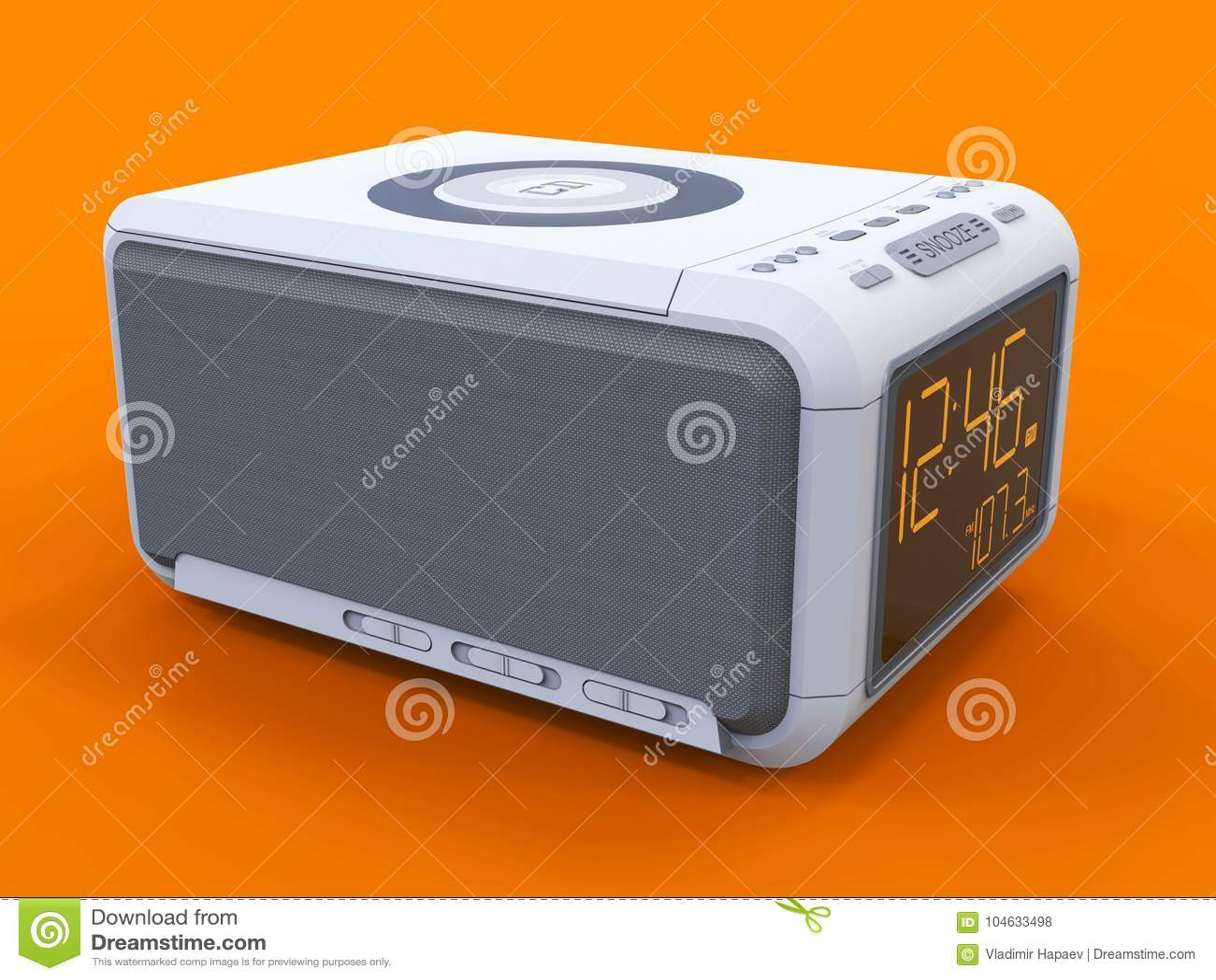 Download Radio Klok-alarm Klok Op Een Oranje Achtergrond Het 3d Teruggeven Stock Illustratie - Illustratie bestaande uit wakker, ochtend: 104633498