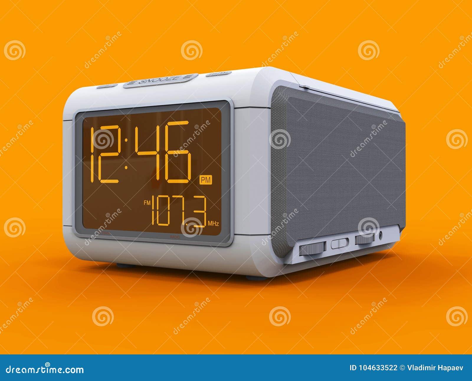 Download Radio Klok-alarm Klok Op Een Oranje Achtergrond Het 3d Teruggeven Stock Illustratie - Illustratie bestaande uit herinnering, beeldverhaal: 104633522