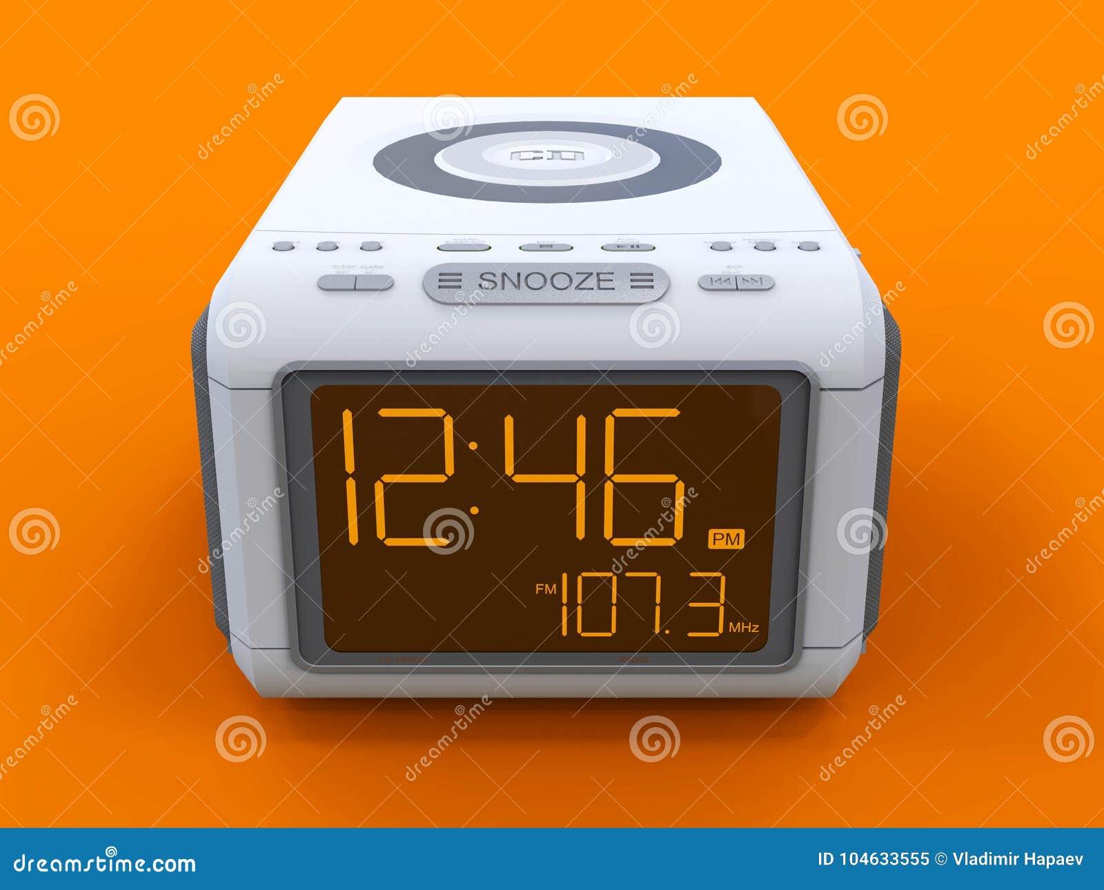 Download Radio Klok-alarm Klok Op Een Oranje Achtergrond Het 3d Teruggeven Stock Illustratie - Illustratie bestaande uit voorwerp, achtergrond: 104633555