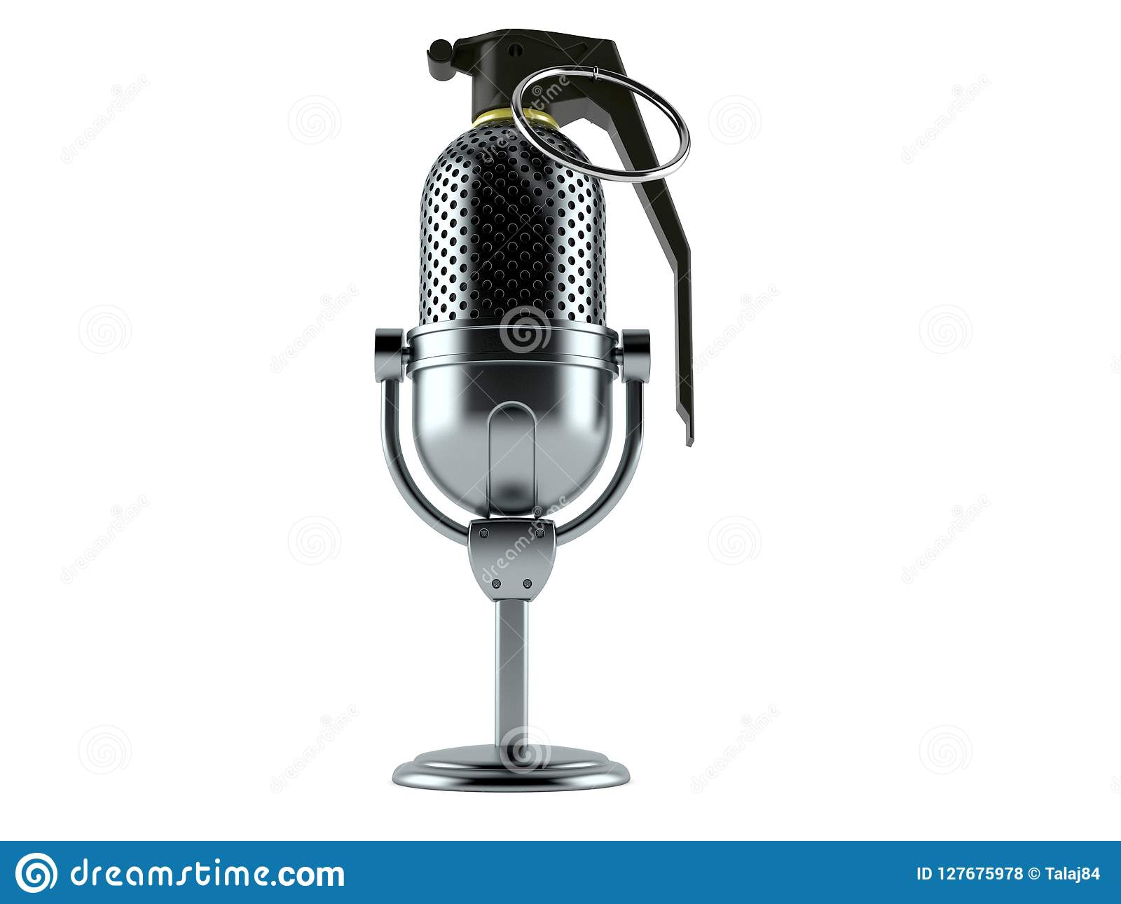 Radio Microphone With Hand Grenade Fuse Stock Illustration