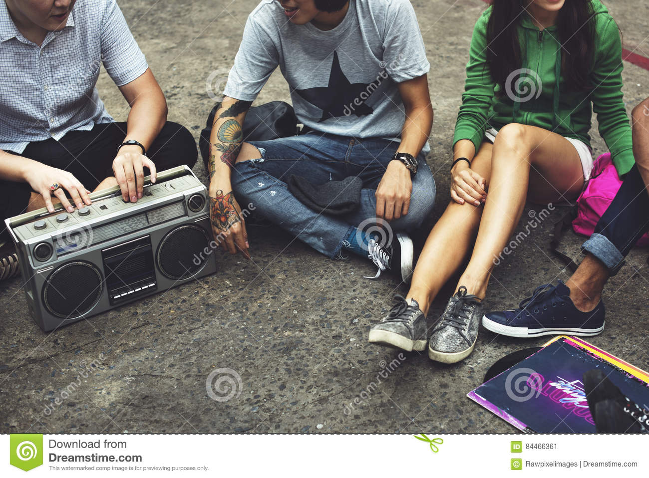 Radio Music Friends Unity Style Teens Casual Concept Stock Image