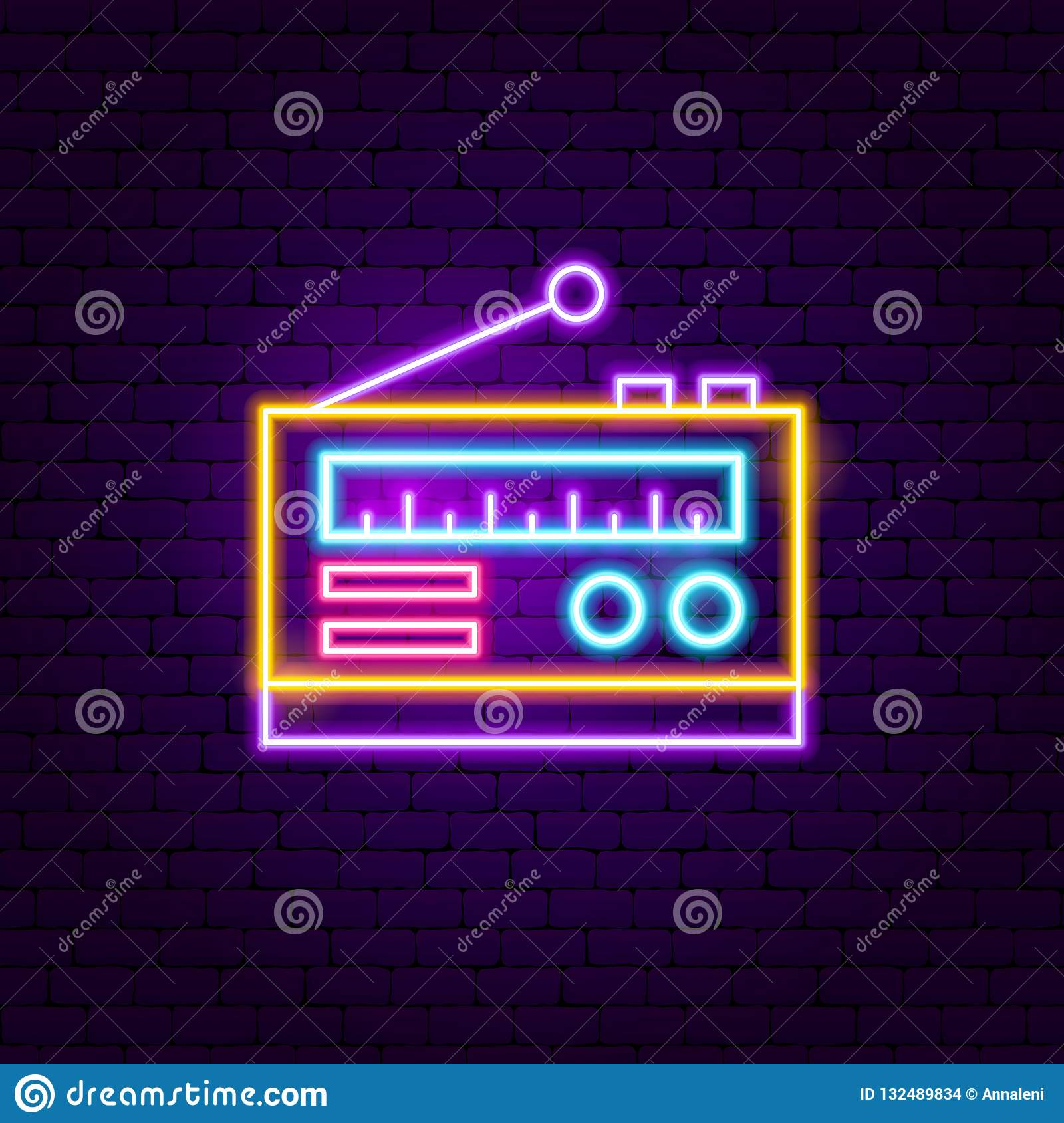 Radio Neon Sign stock vector  Illustration of song, show - 132489834