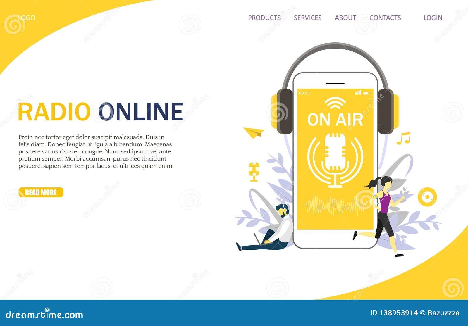 Radio Online Vector Website Landing Page Design Template
