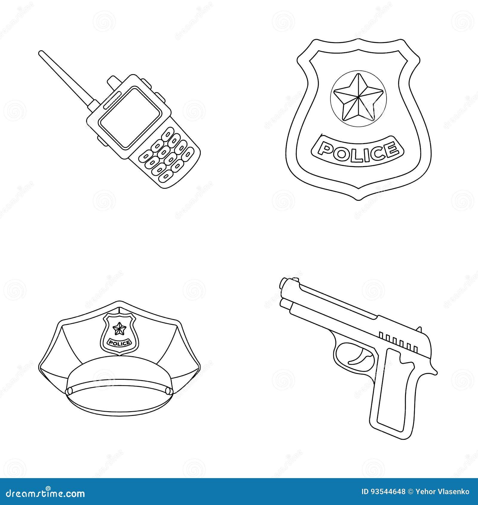 Radio police officer s badge uniform cap pistolpolice set radio police officer s badge uniform cap pistolpolice set collection icons in outline style vector symbol stock buycottarizona