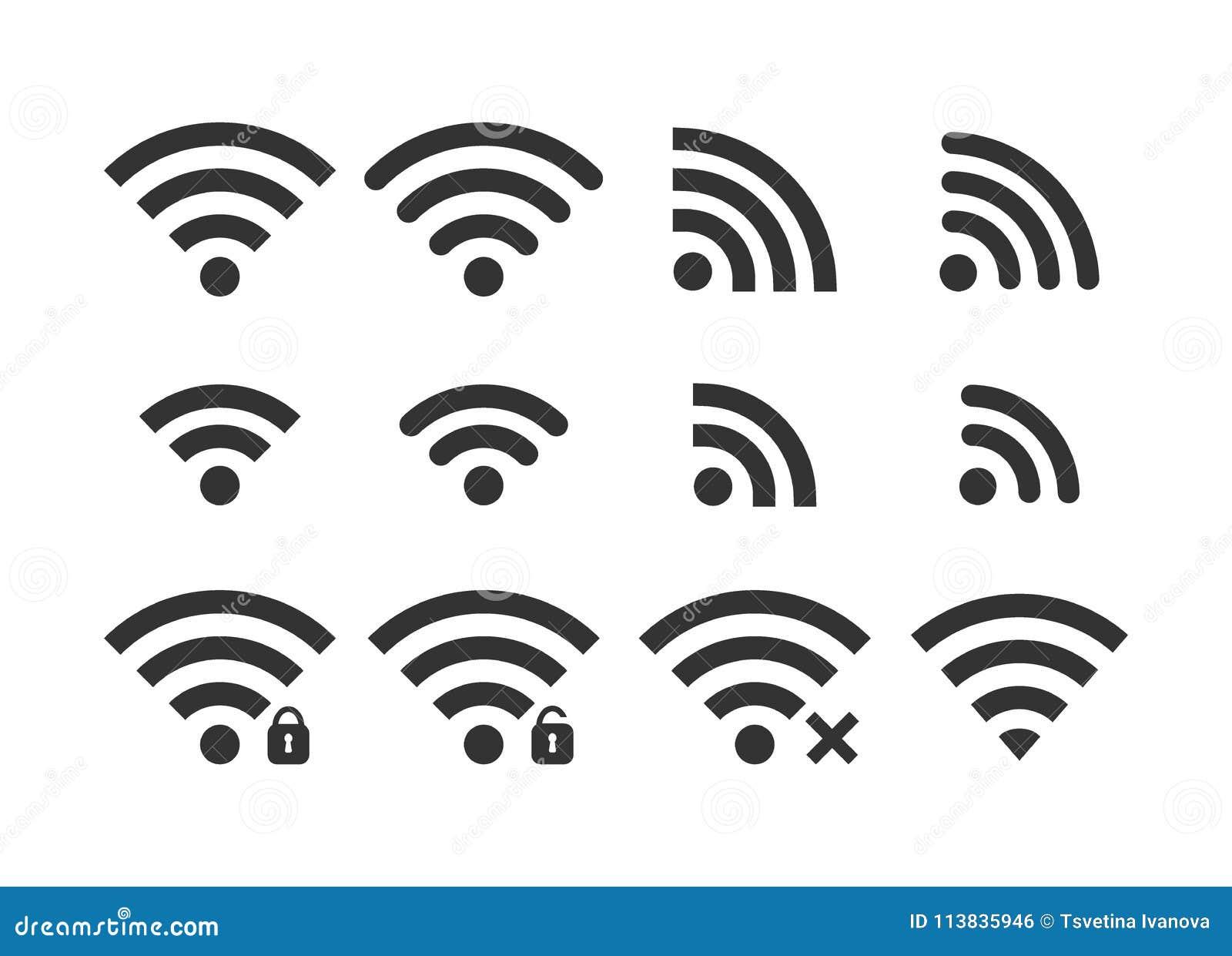 Radio sieci ikony sygnałowy set Wi fi ikony Zabezpiecza żadny związek, bez zabezpieczenia, hasło ochraniał ikony