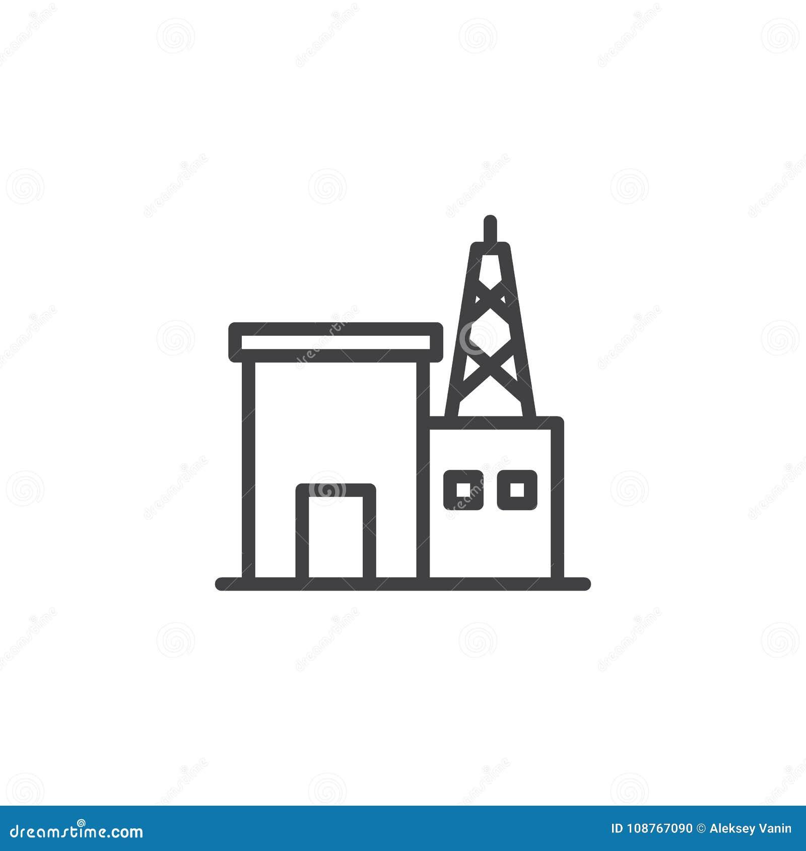 radio station building line icon stock vector