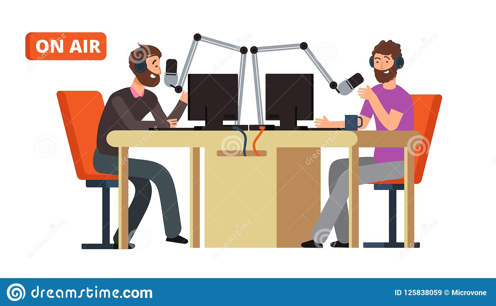 Radio toon Uitzendend radiodj die met microfoons op lucht spreken Binnen archief kunt u dossiers in dergelijke formaten vinden: e