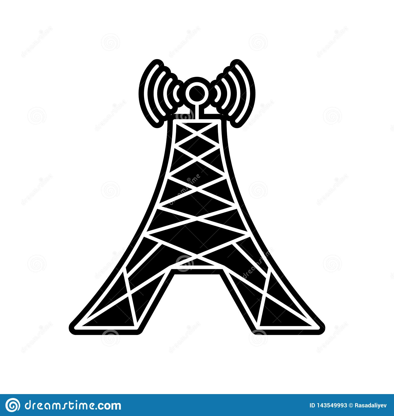 Radio Tower Icon Element Of Media Tool For Mobile Concept And Web Apps Icon Glyph Flat Icon For Website Design And Development Stock Illustration Illustration Of Technology Network 143549993