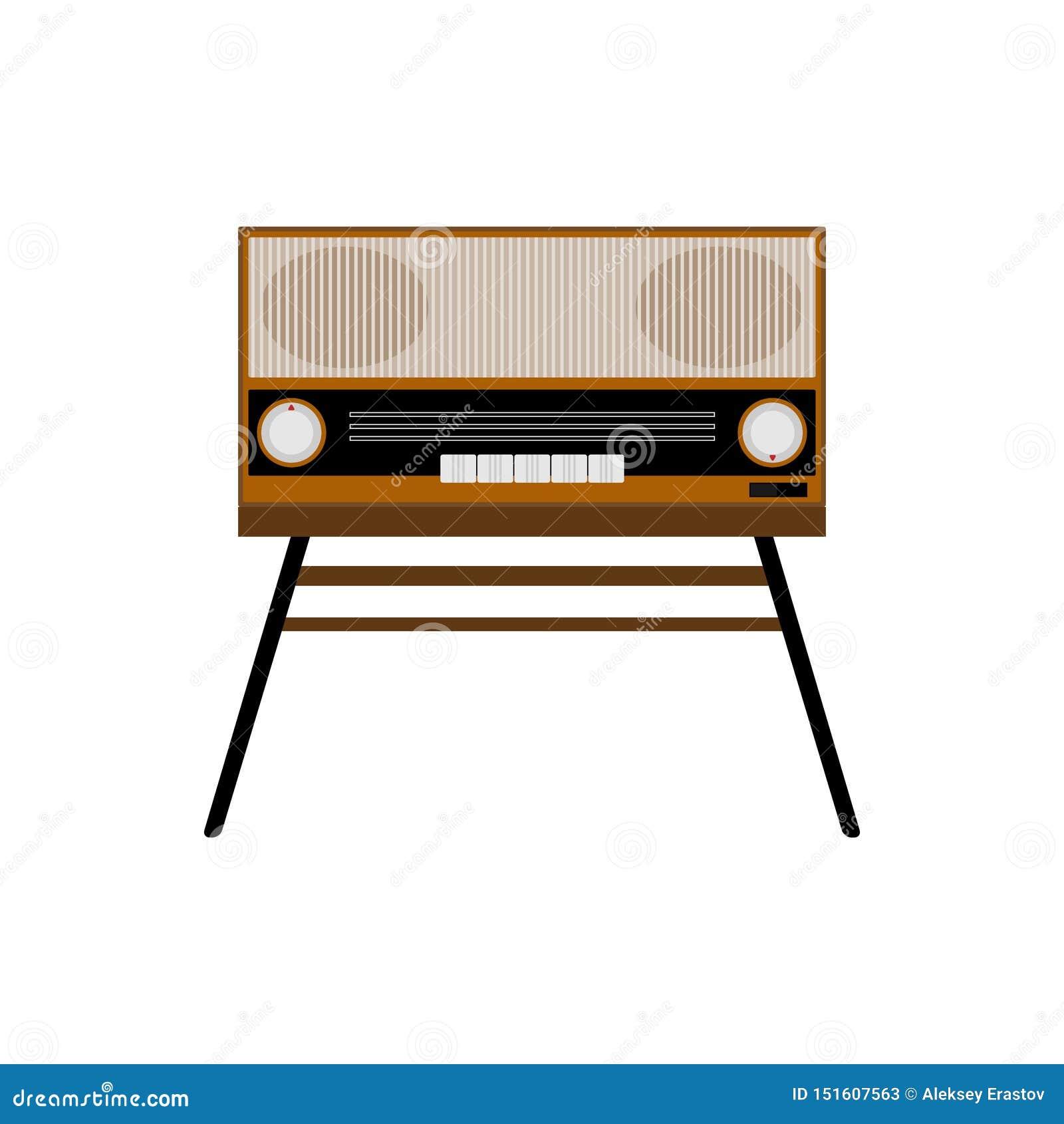 Radio vieja aislada Electr?nica retra Ejemplo plano del vector
