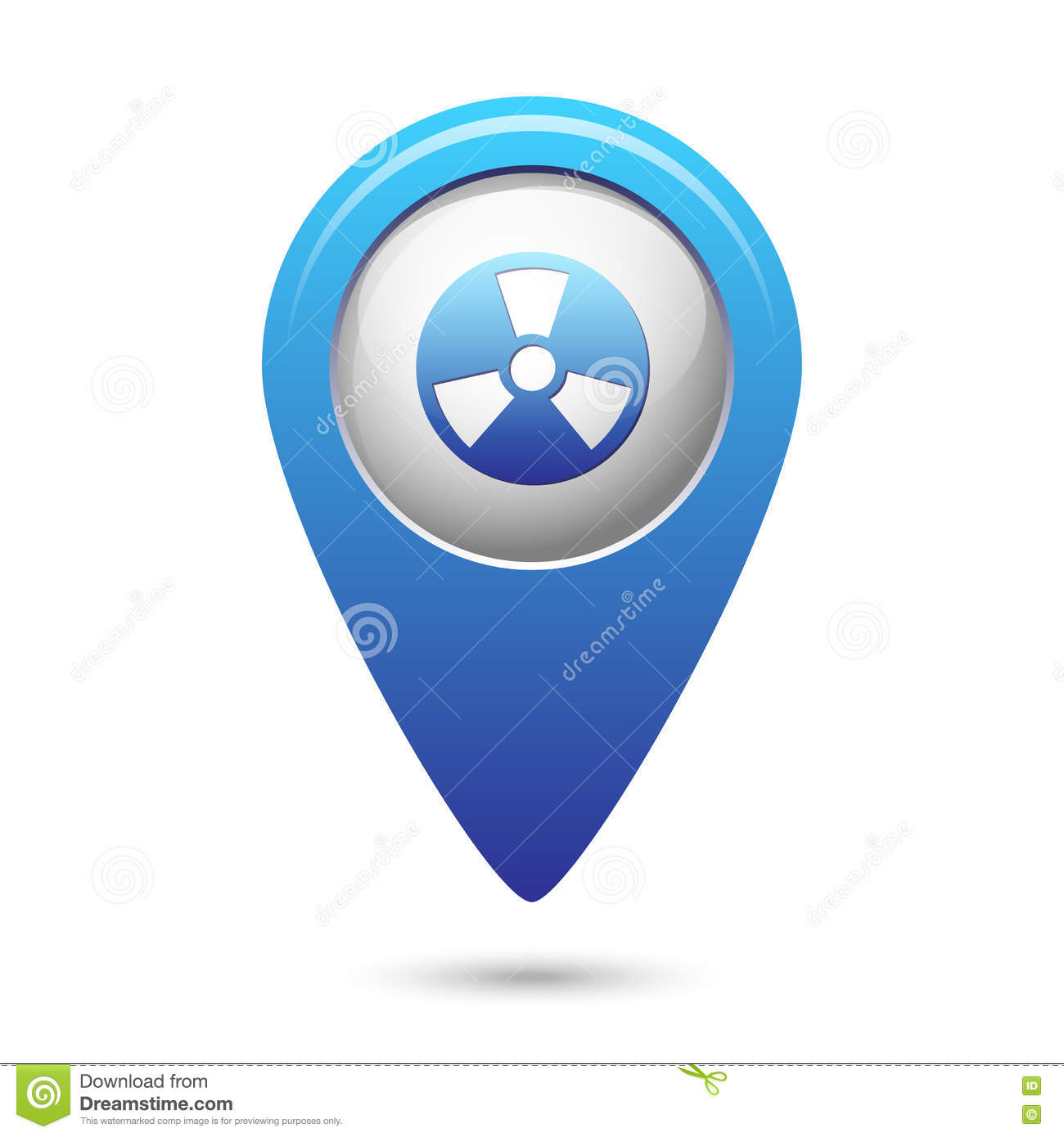 Radioactive Icon On Blue Map Pointer Stock Vector