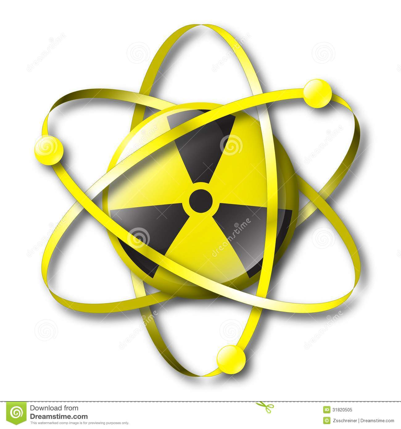 Radioactive Nuclear Symbol With Electrons Stock Illustration