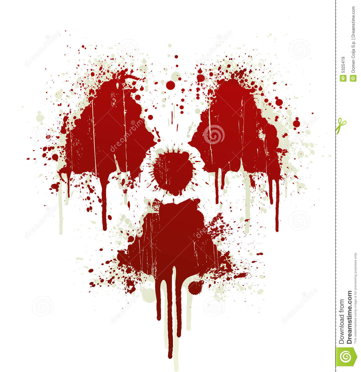 Vector illustration of a blood splatter design element in the shape of ...