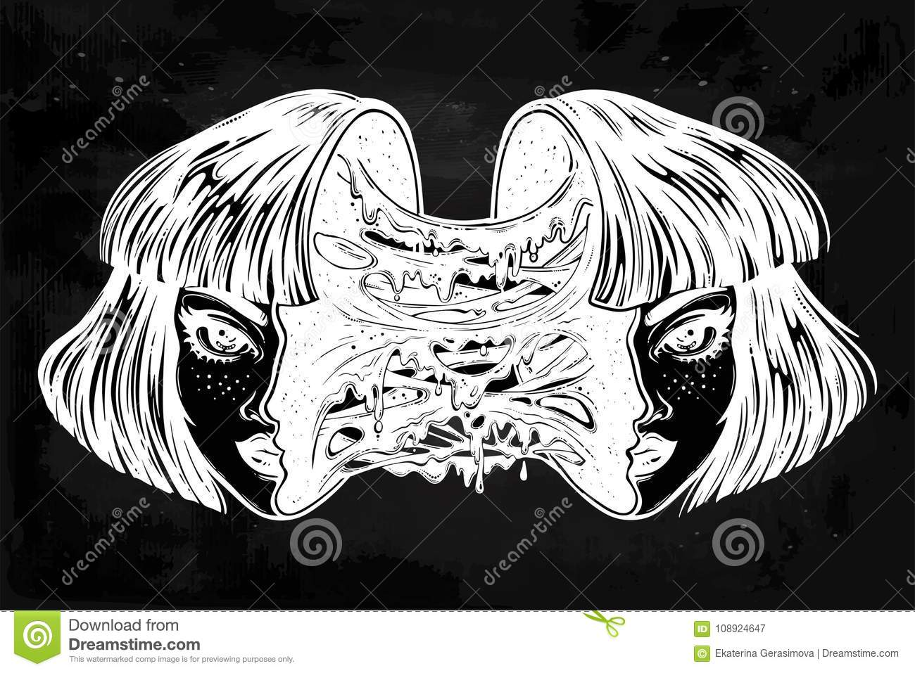 Zombie Face Line Drawing : Radioactive zombie girl with a head full of slime. stock vector