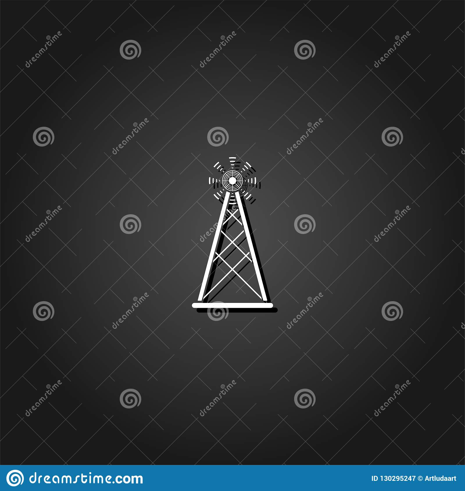 Radiosända symbolen för tornTV-sändningantennen framlänges