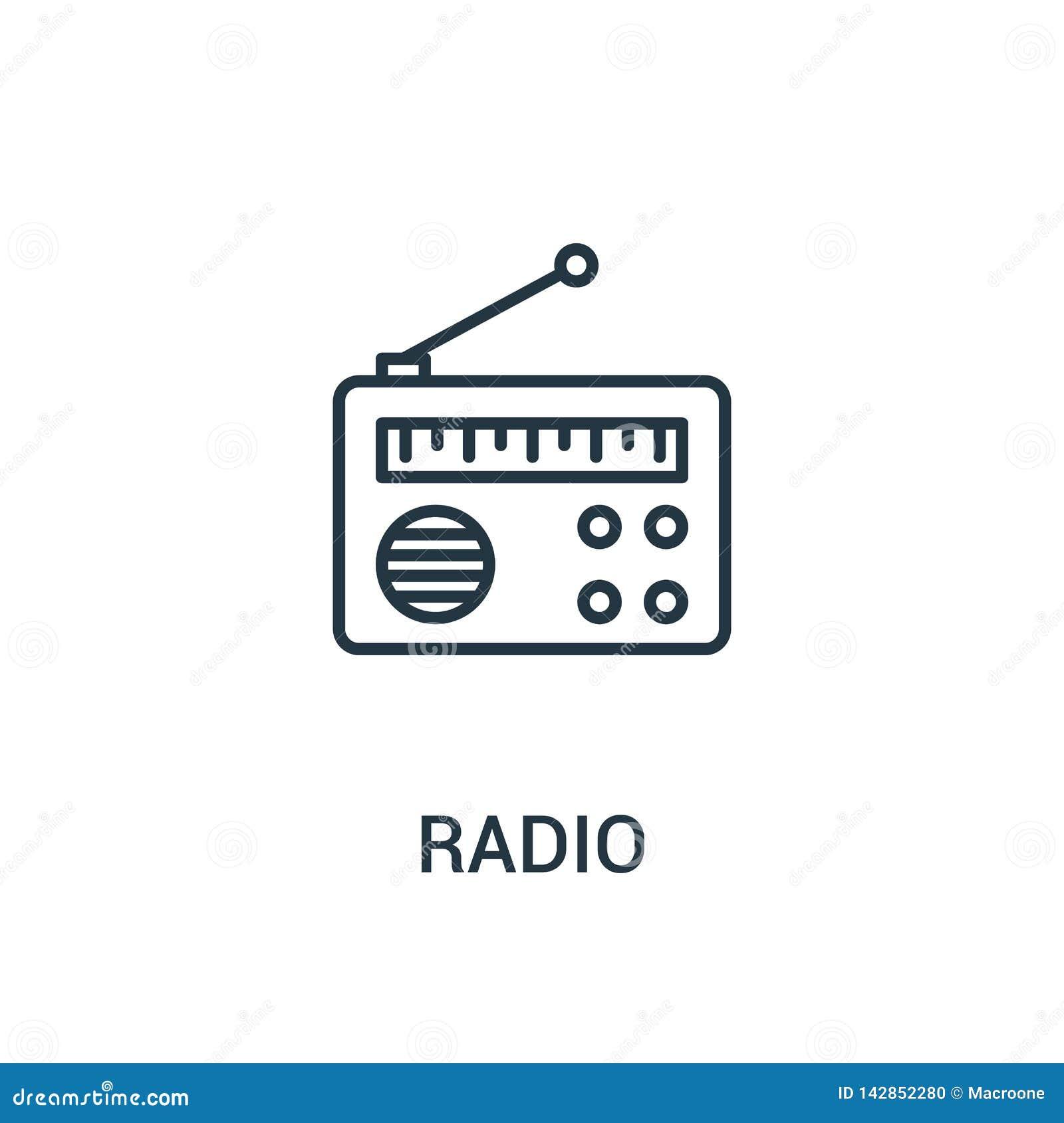 Radiosända symbolsvektorn från annonssamling Tunn linje illustration för vektor för radioöversiktssymbol r